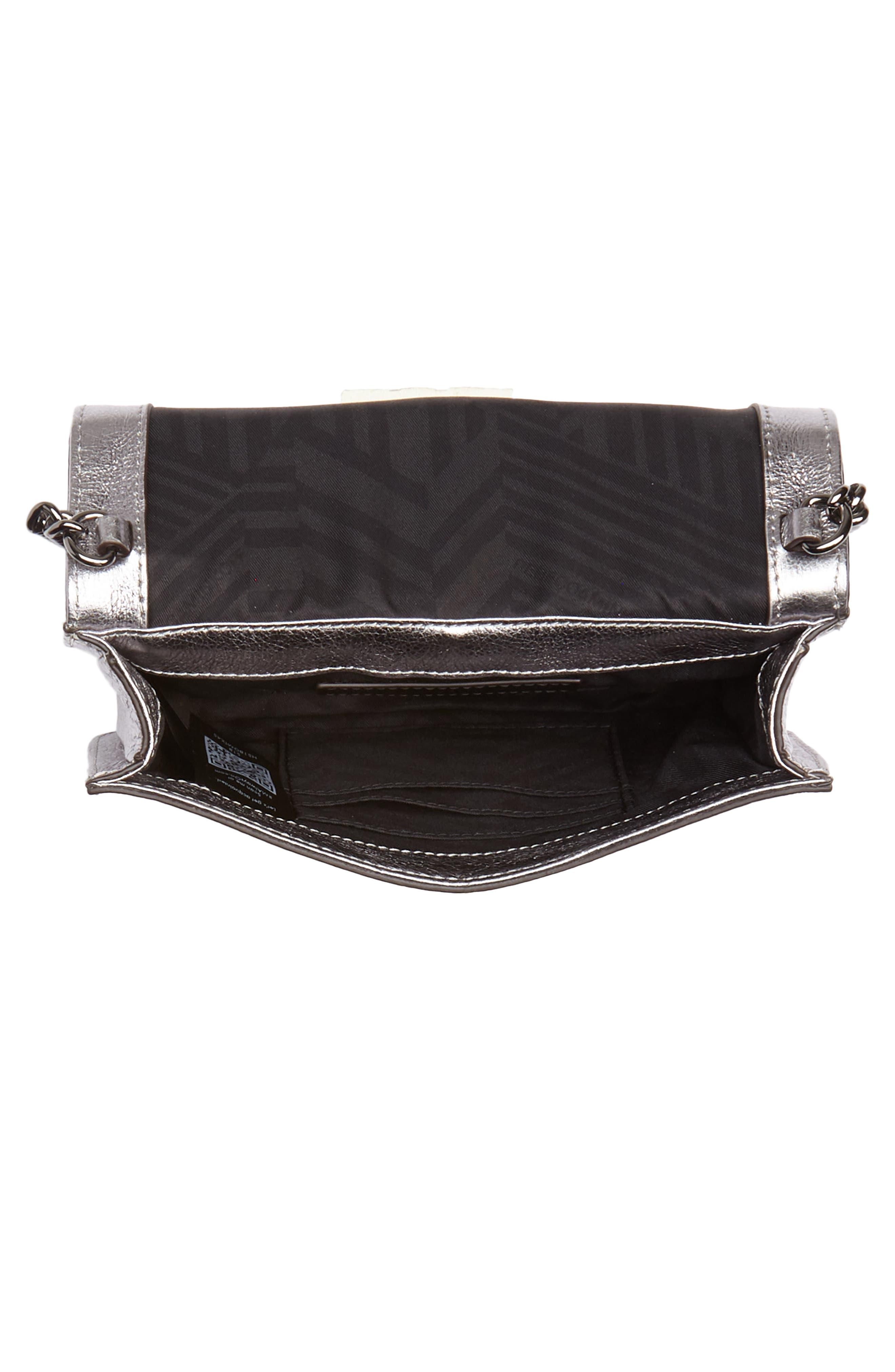 Small Love Metallic Leather Crossbody Bag,                             Alternate thumbnail 10, color,