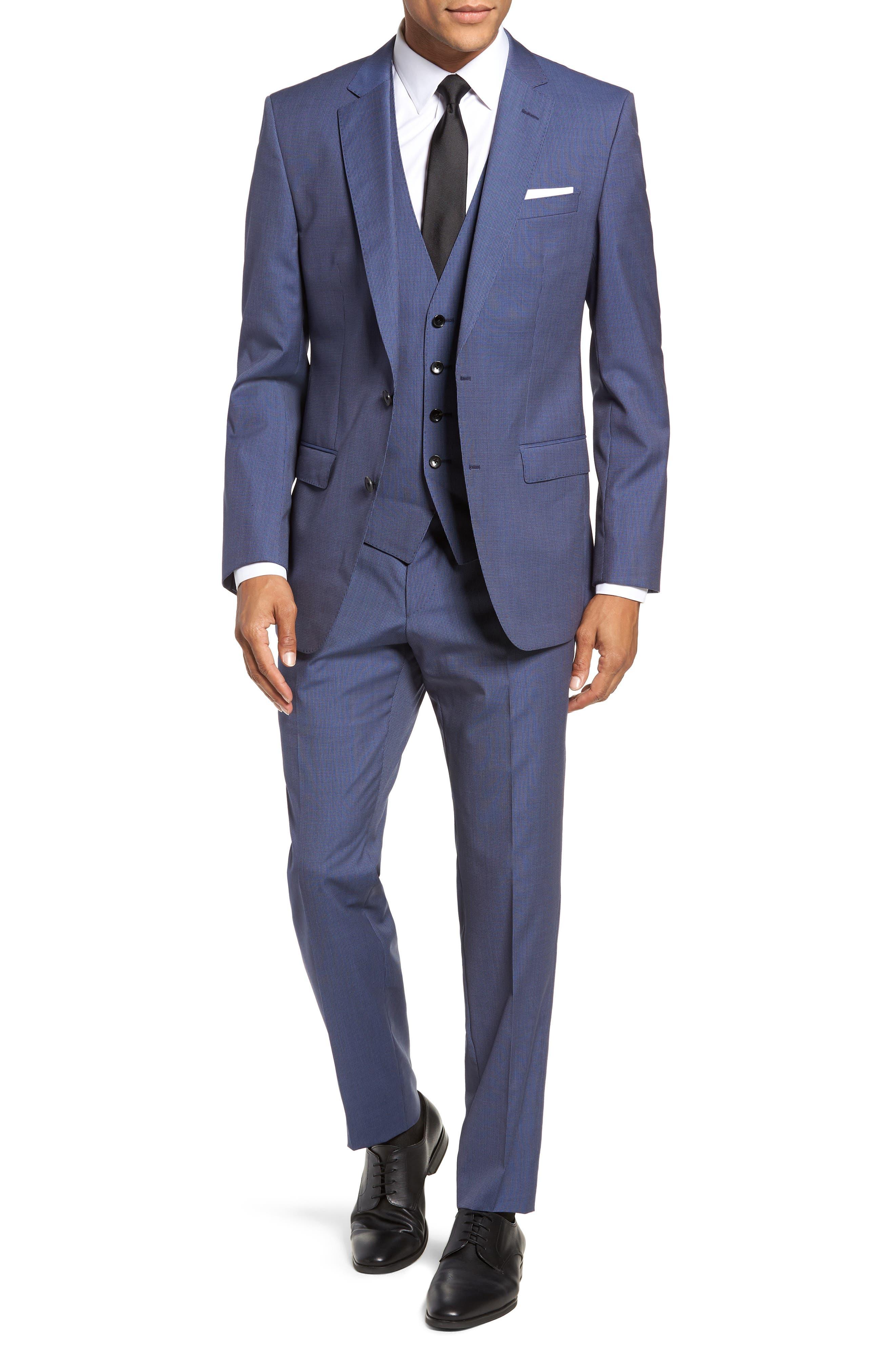 Huge/Genius Trim Fit Solid Three Piece Wool Suit,                             Alternate thumbnail 7, color,                             BLUE