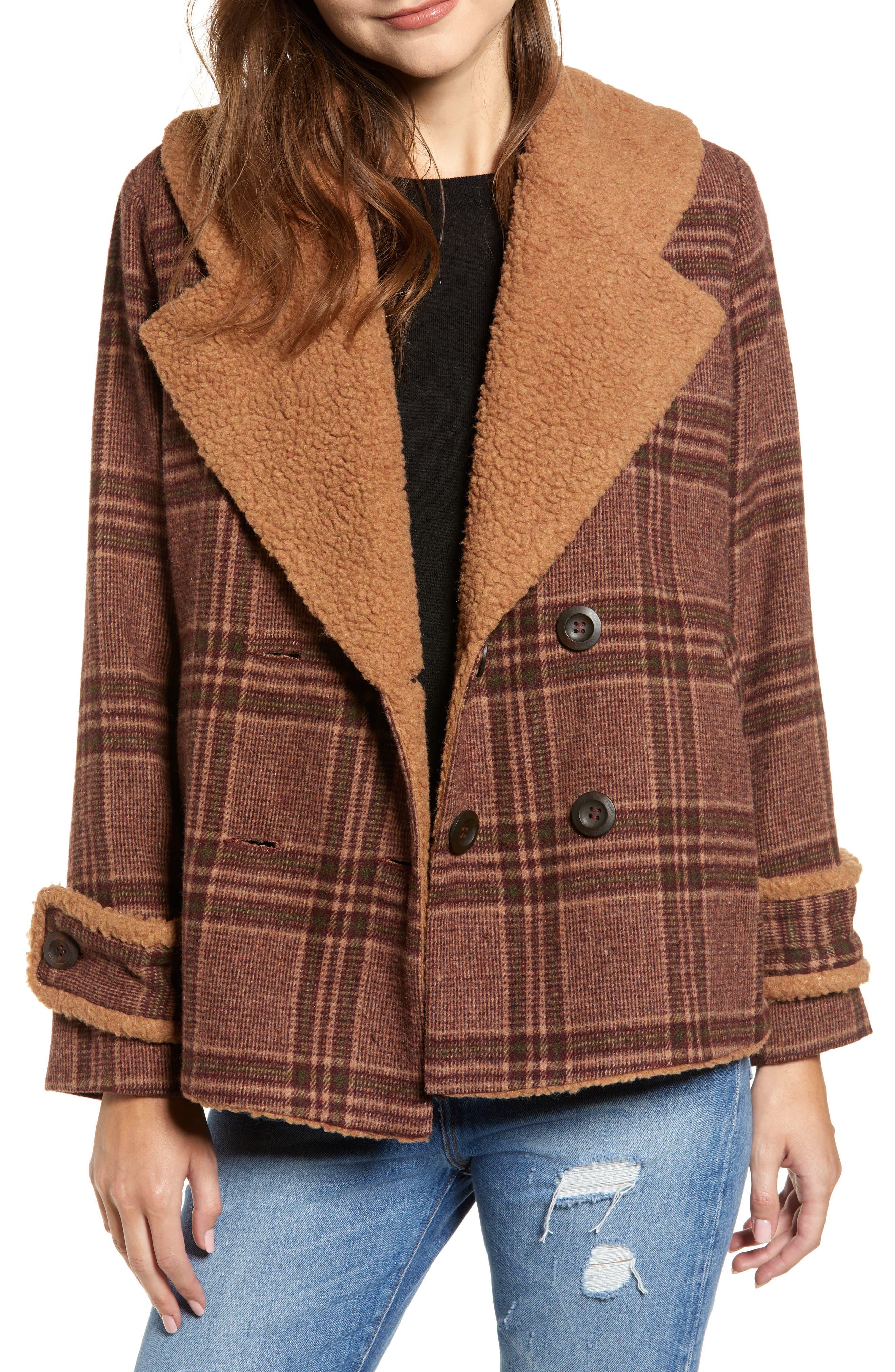 Faux Shearling Trim Plaid Jacket,                         Main,                         color, BROWN PLAID