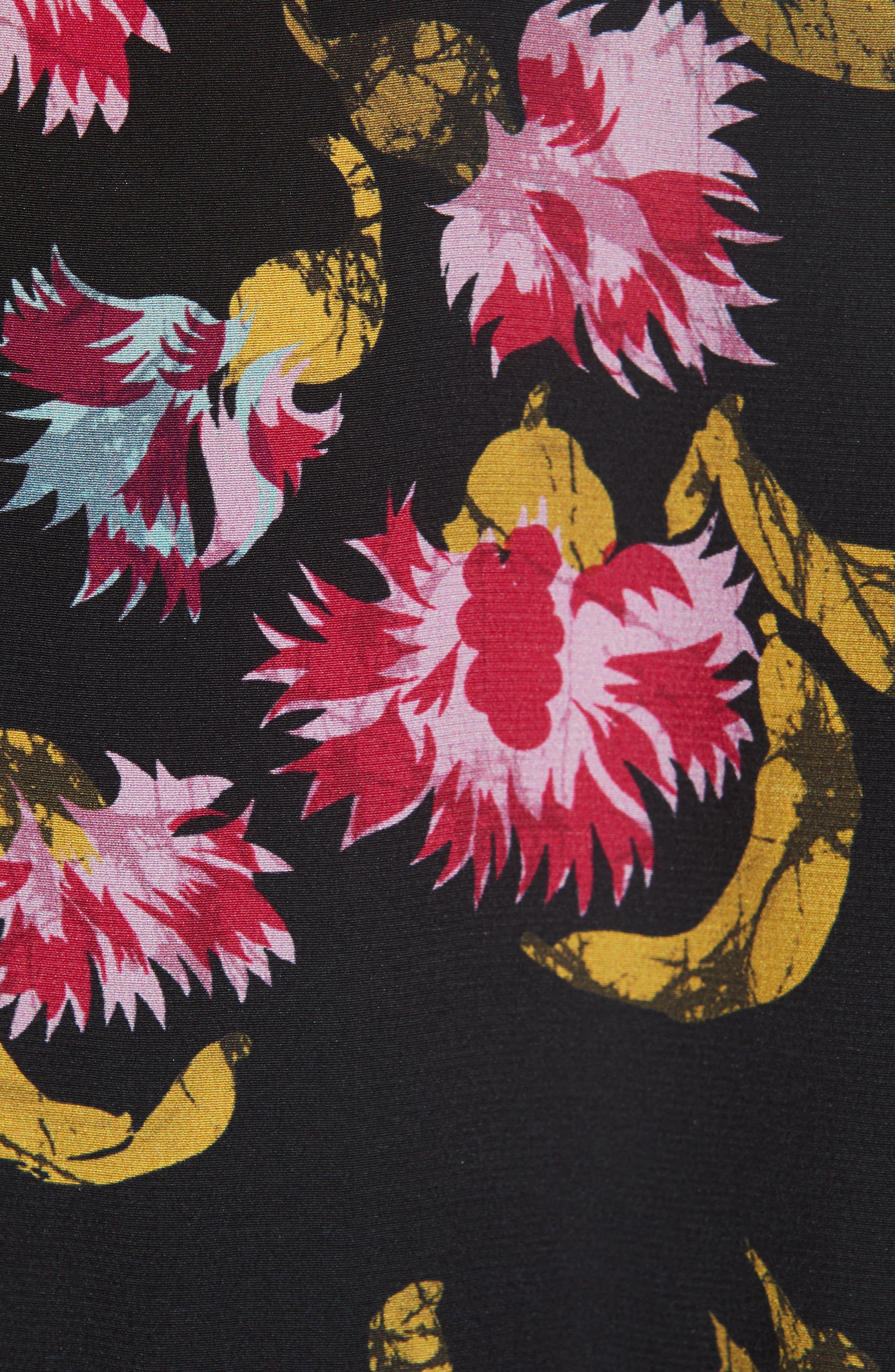 Dita Lace Panel Blouse,                             Alternate thumbnail 5, color,                             FUCHSIA AZALEA BLACK