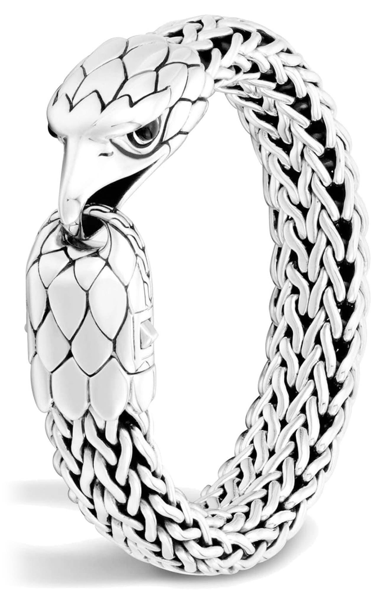 Men's Legends Eagle Station Bracelet,                             Main thumbnail 1, color,                             SILVER/ BLACK CHALCEDONY