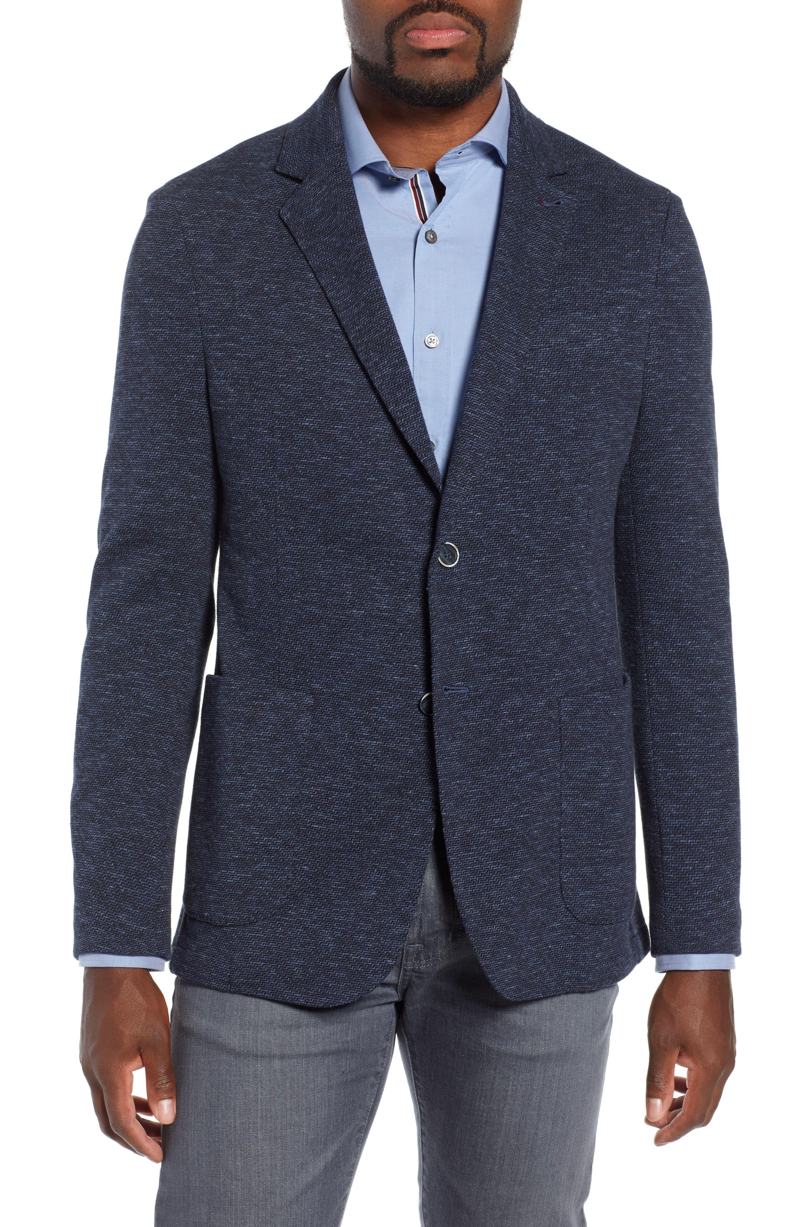 Stretch Cotton Knit Sport Coat,                             Main thumbnail 1, color,                             DENIM