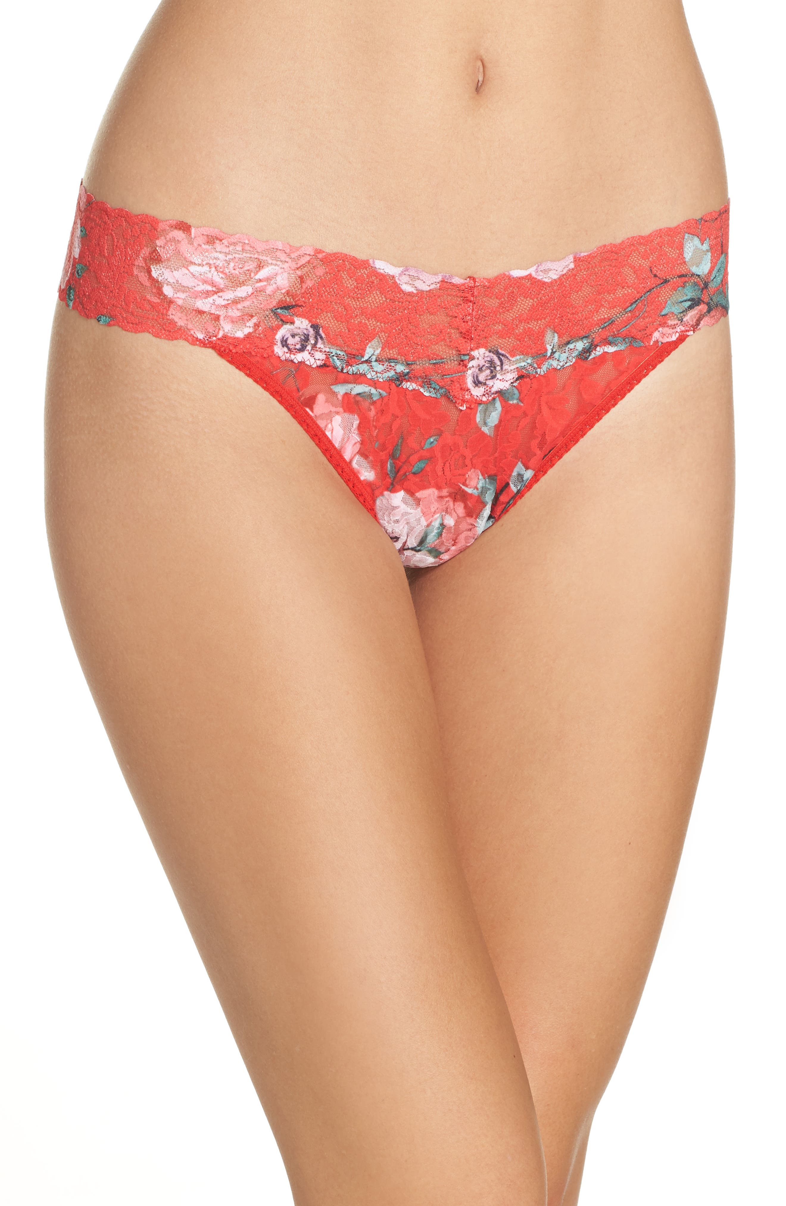 Holiday Blossom Original Rise Thong in Red Multi