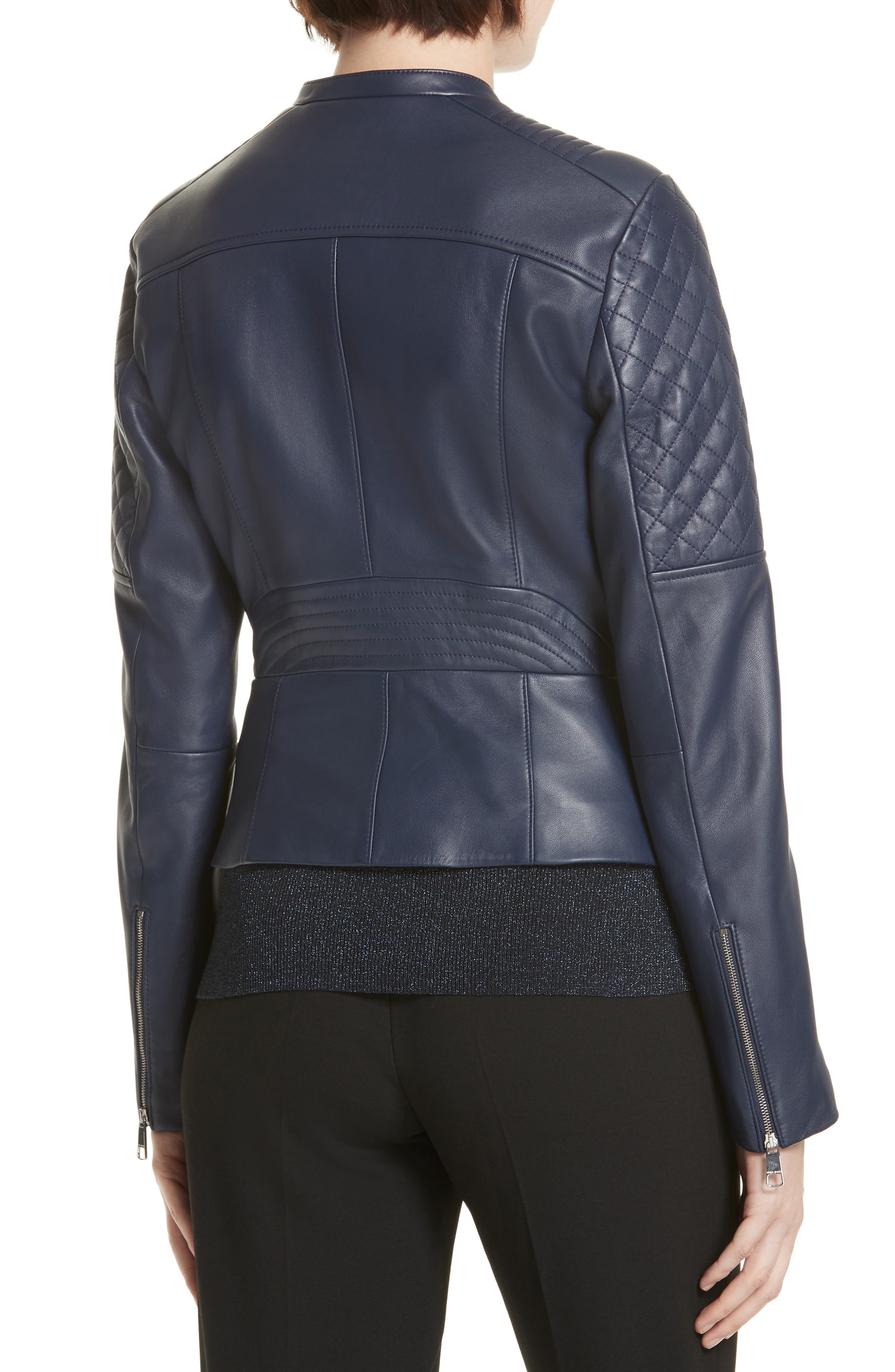 Sadeno Leather Moto Jacket,                             Alternate thumbnail 2, color,                             INK BLUE