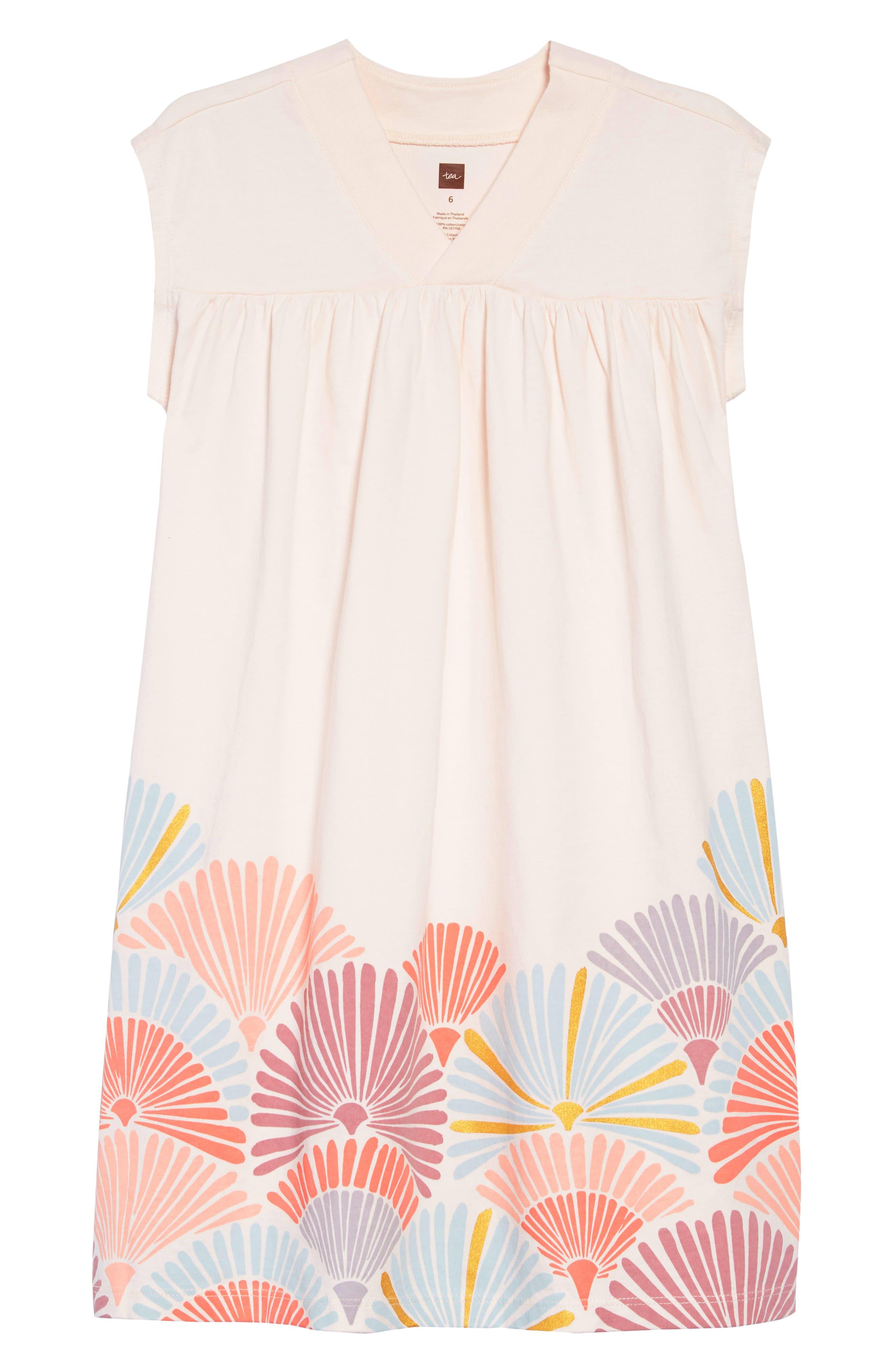 TEA COLLECTION Graphic Trapeze Dress, Main, color, SILKWORM
