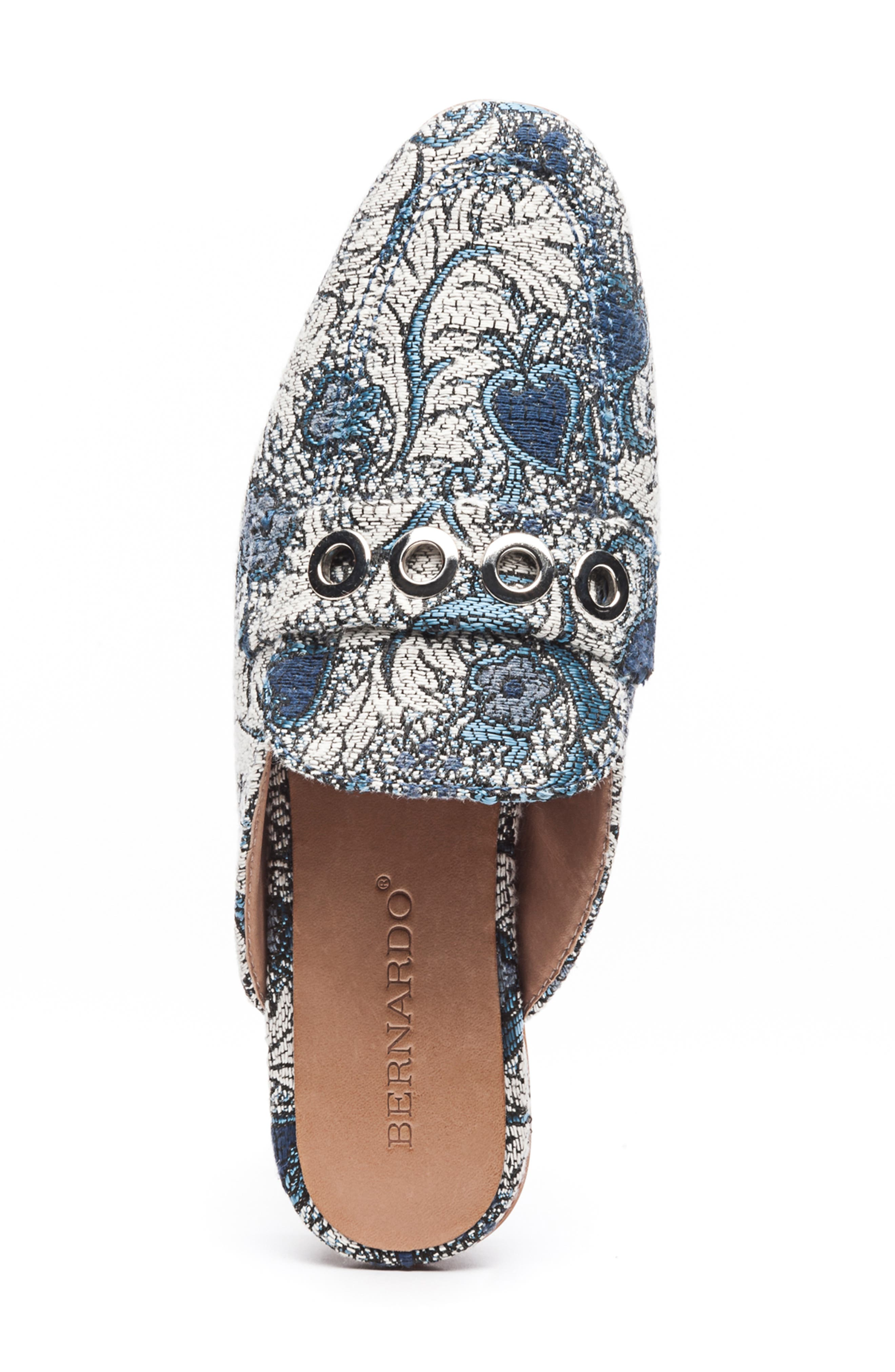 Bernardo Jen Mule,                             Alternate thumbnail 5, color,                             BLUE JACQUARD LEATHER