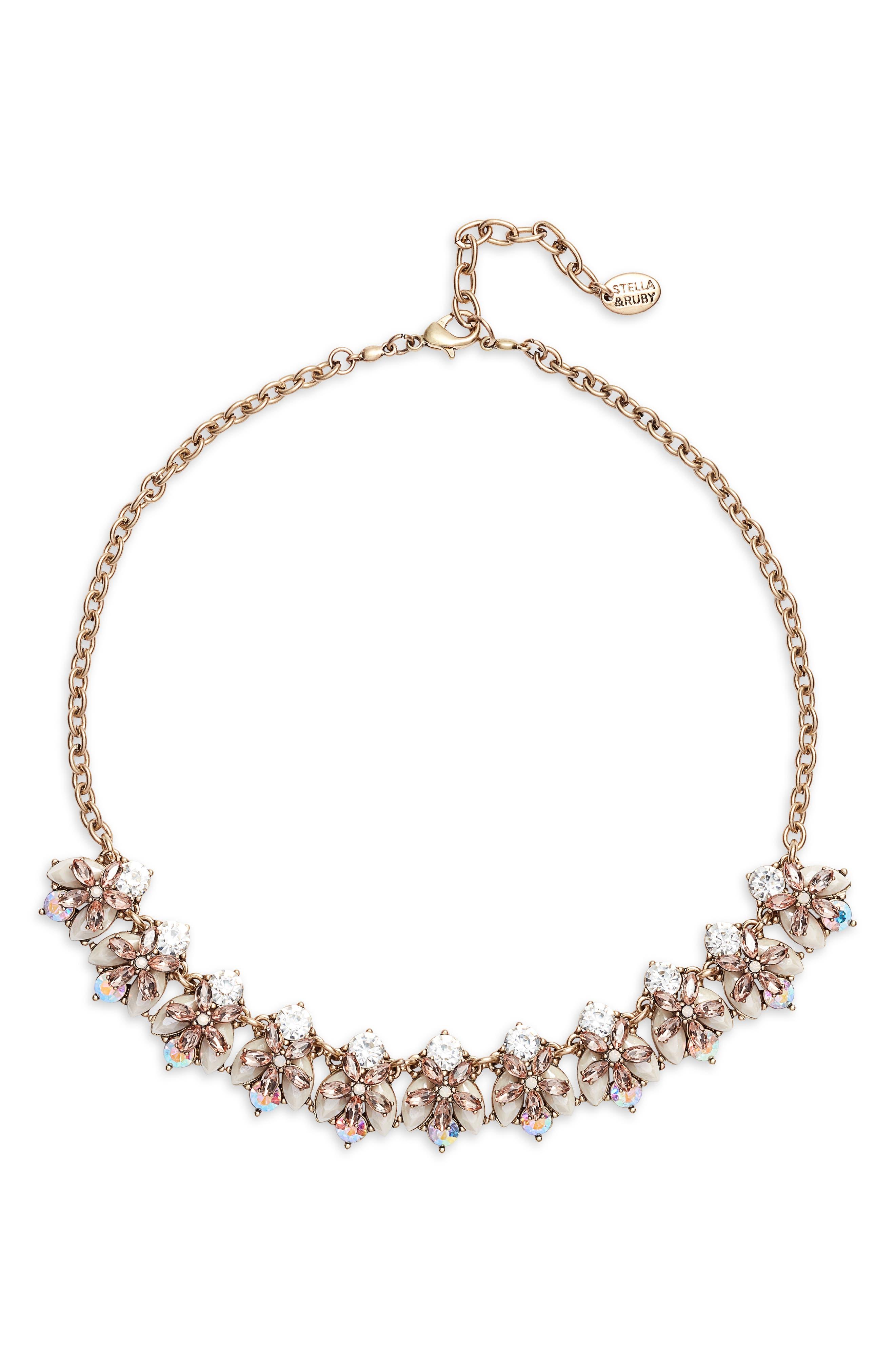 STELLA + RUBY Anna Statement Necklace in Antique Gold/ Neutral