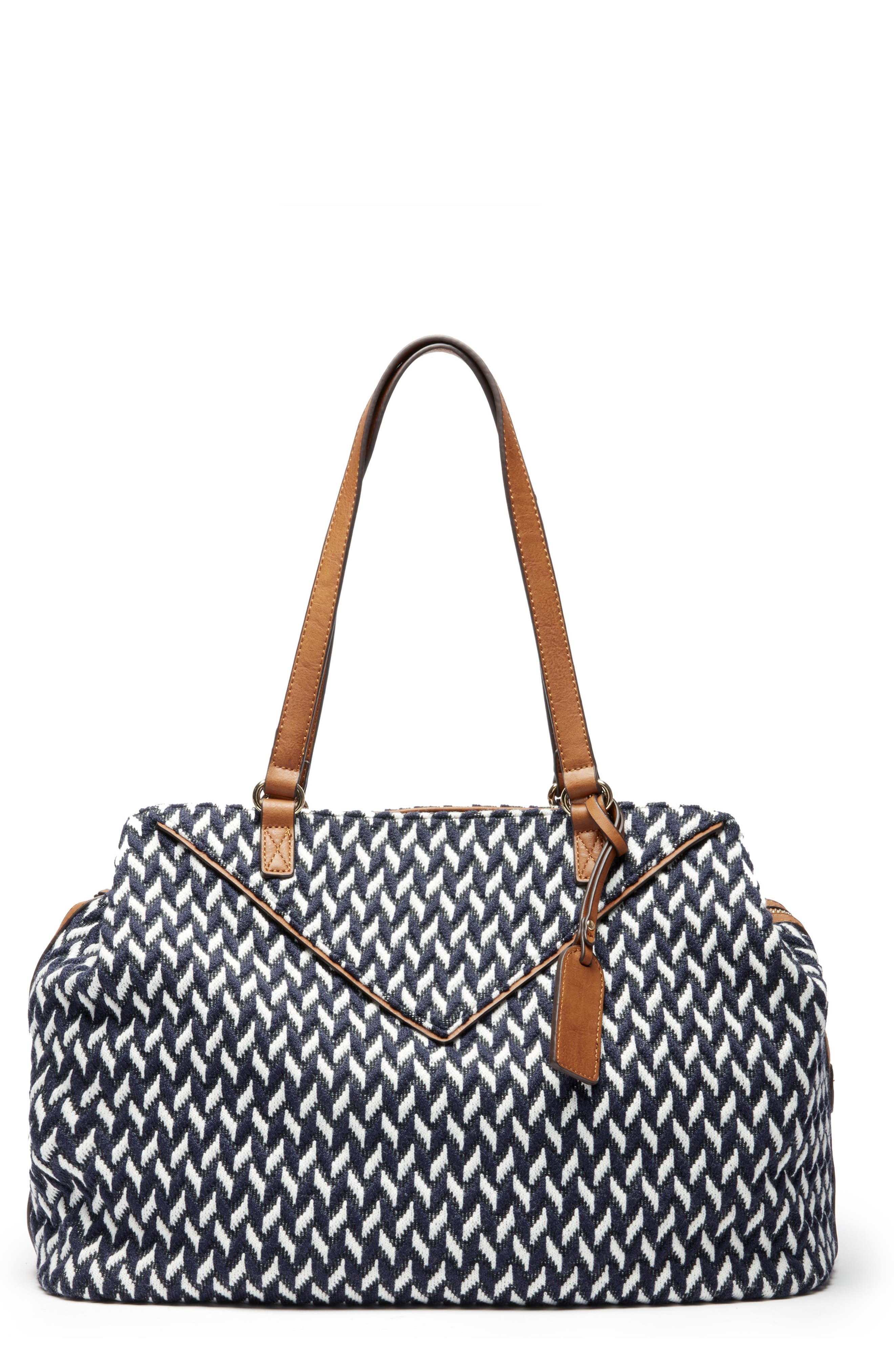 Ginny Woven Tote,                         Main,                         color, NAVY COMBO