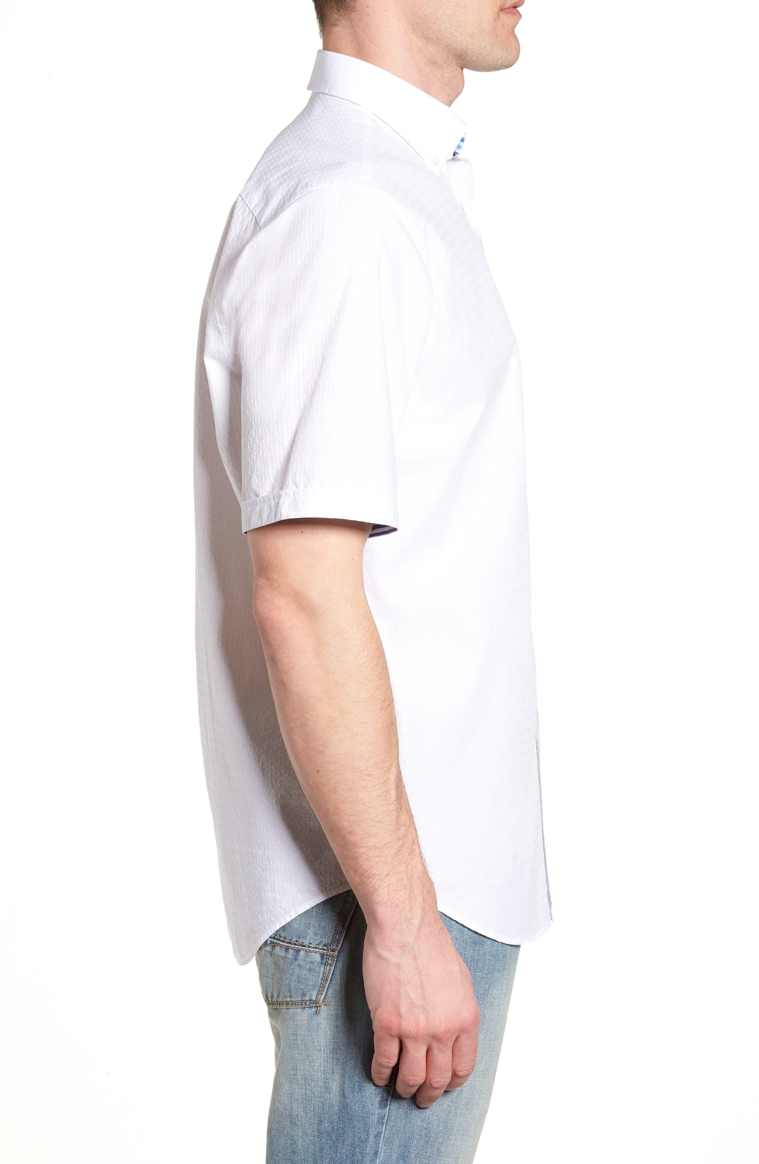 Classic Fit Textured Sport Shirt,                             Alternate thumbnail 3, color,                             WHITE