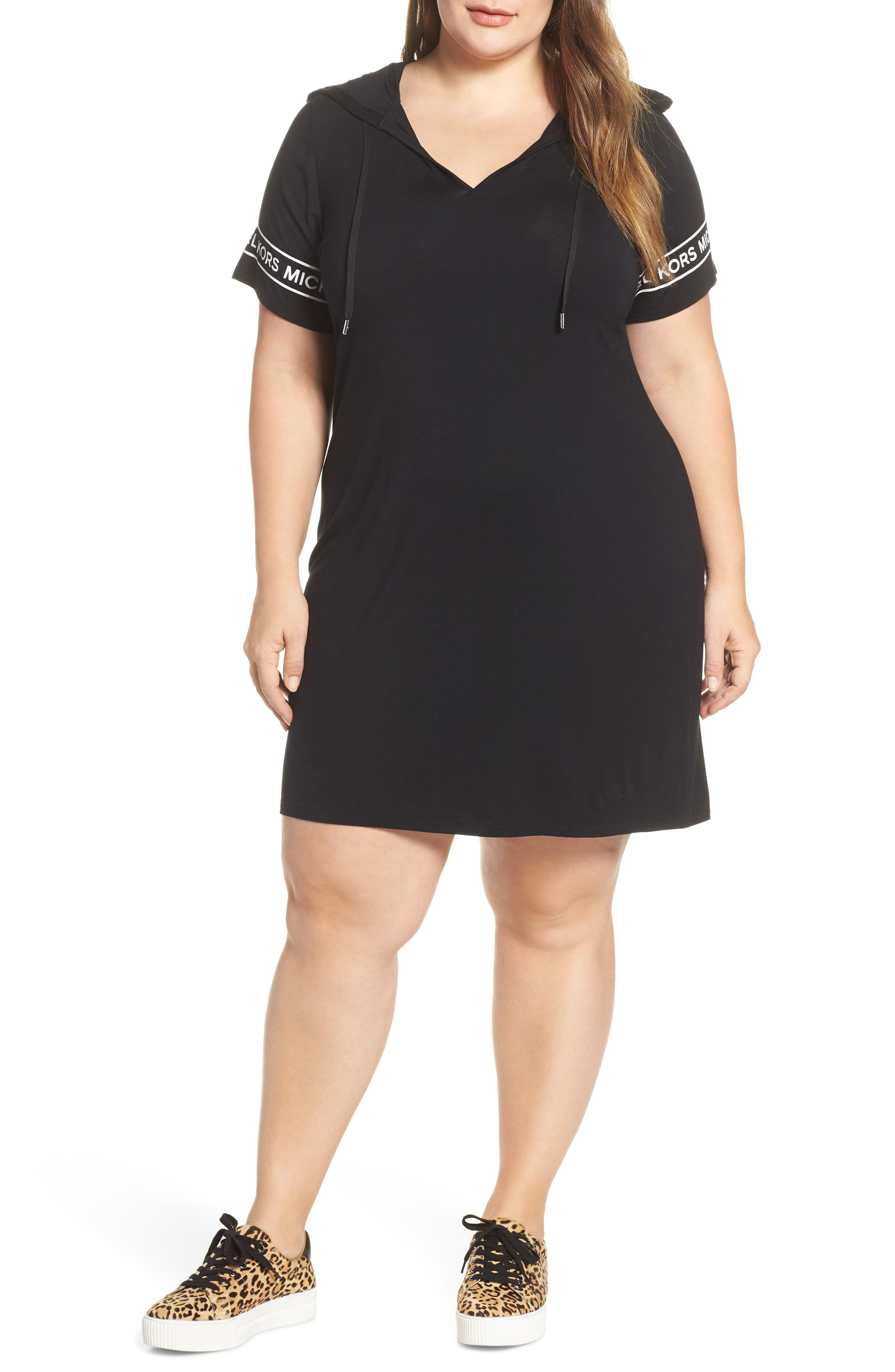 Plus Size Michael Michael Kors Logo Trim Hoodie Dress, Black