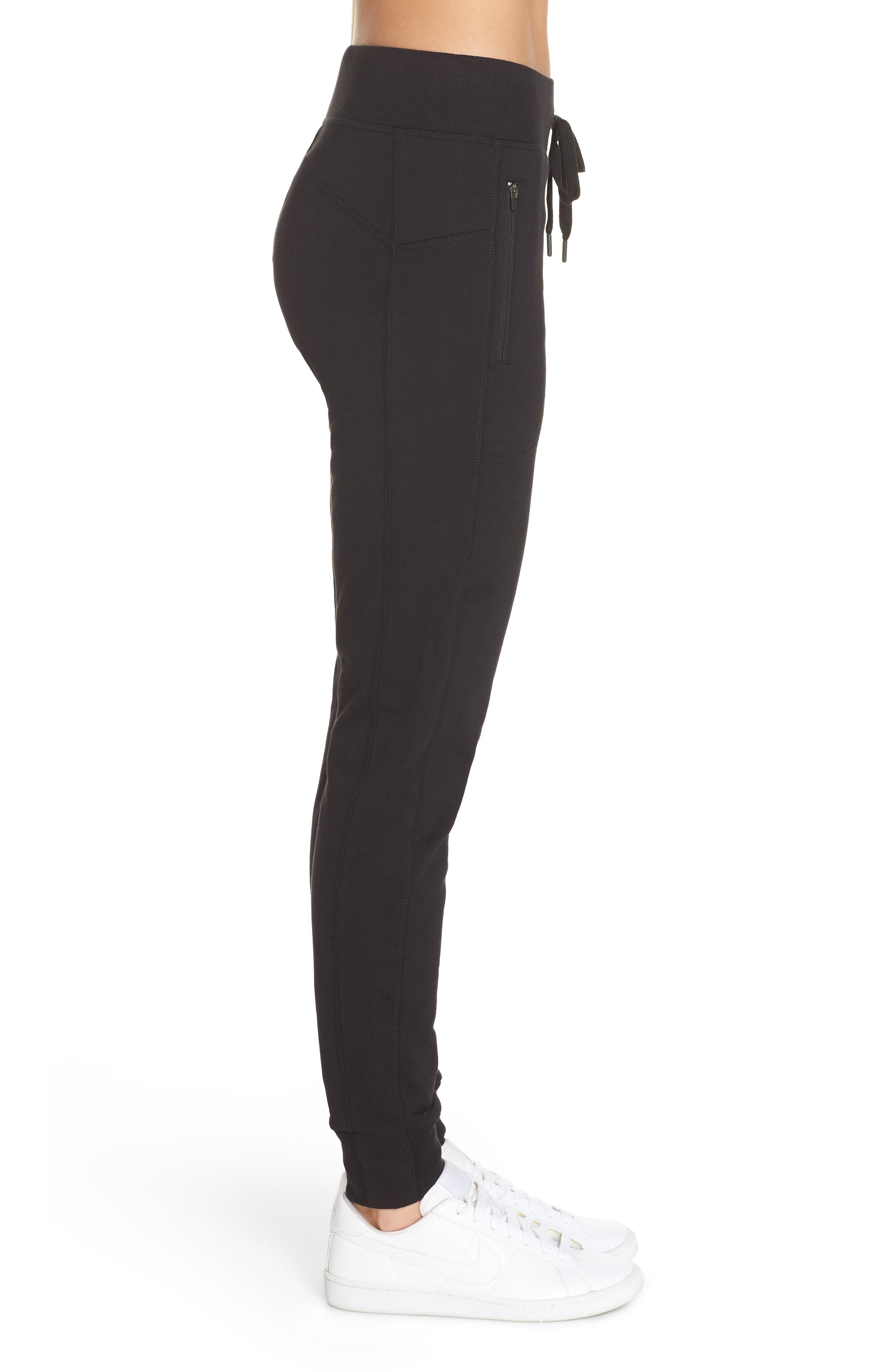 Taryn Luxe Jogger Pants,                             Alternate thumbnail 3, color,                             BLACK