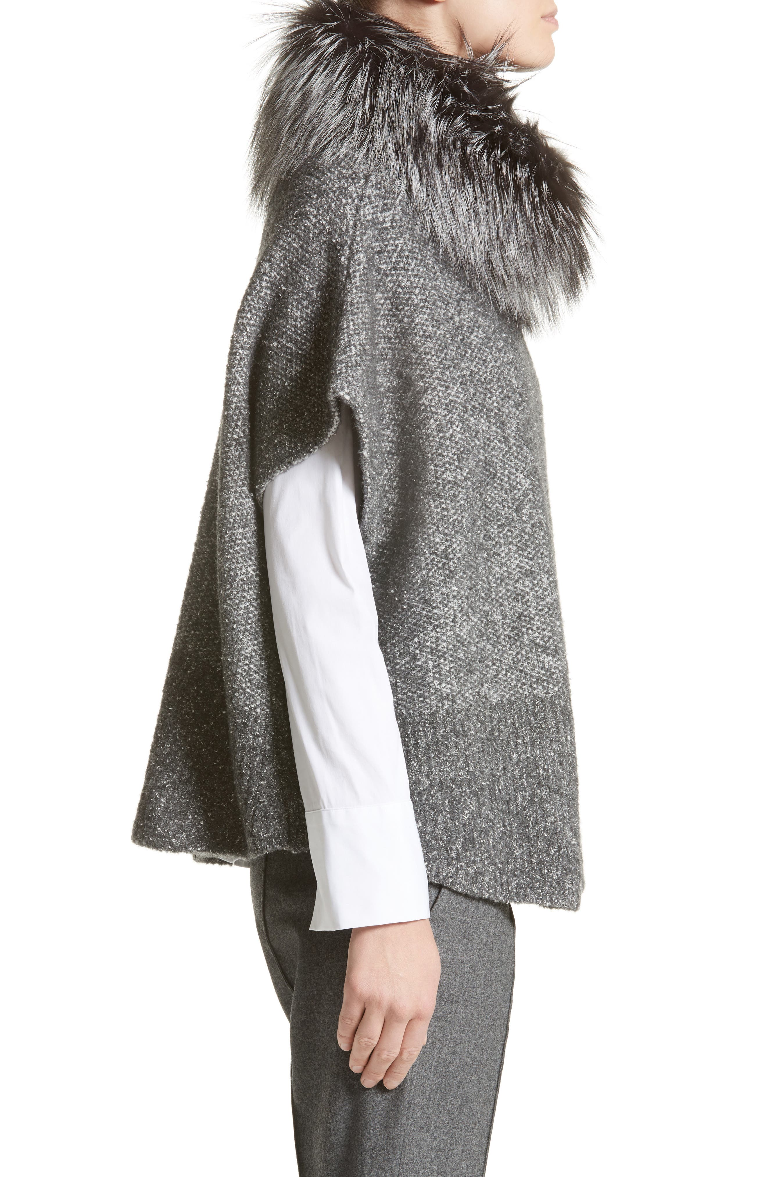 Pebble Tweed Knit Poncho with Genuine Fox Fur Collar,                             Alternate thumbnail 4, color,