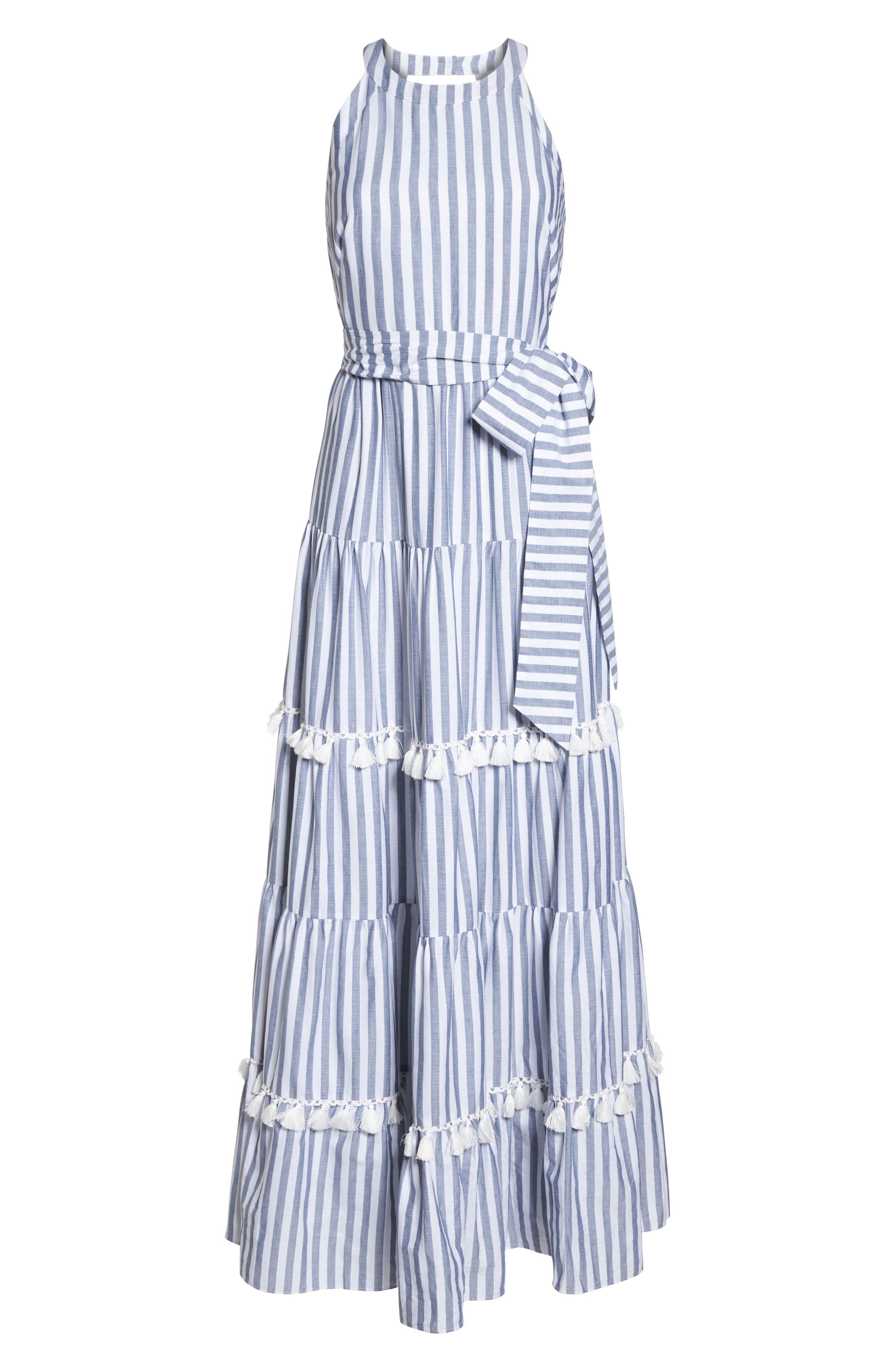 ELIZA J,                             Tiered Tassel Fringe Cotton Maxi Dress,                             Alternate thumbnail 7, color,                             IVORY/ GREY