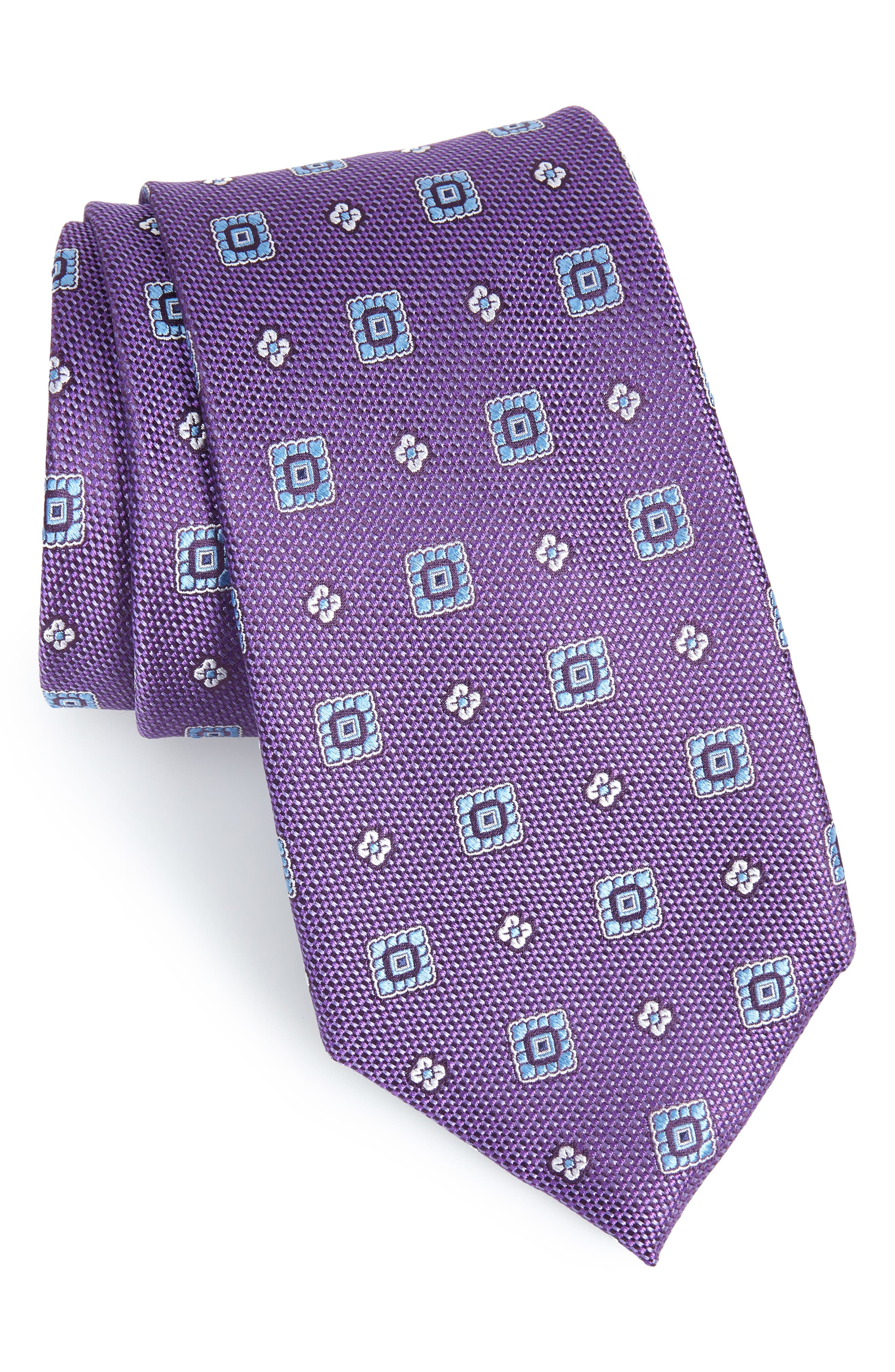 Foxtrot Medallion Silk Tie,                         Main,                         color, EGGPLANT