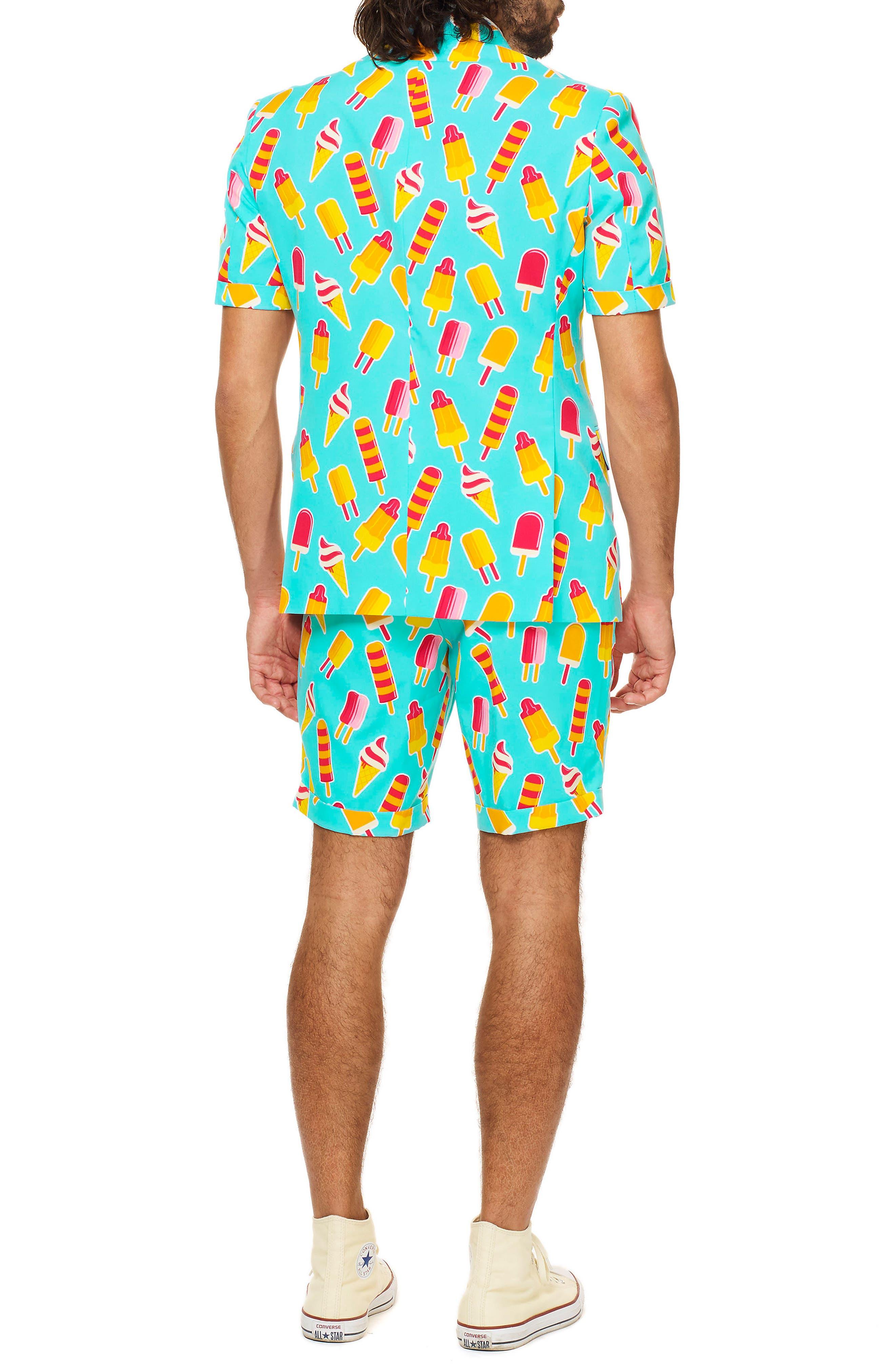 Summer Cool Cones Trim Fit Two-Piece Short Suit with Tie,                             Alternate thumbnail 2, color,                             450