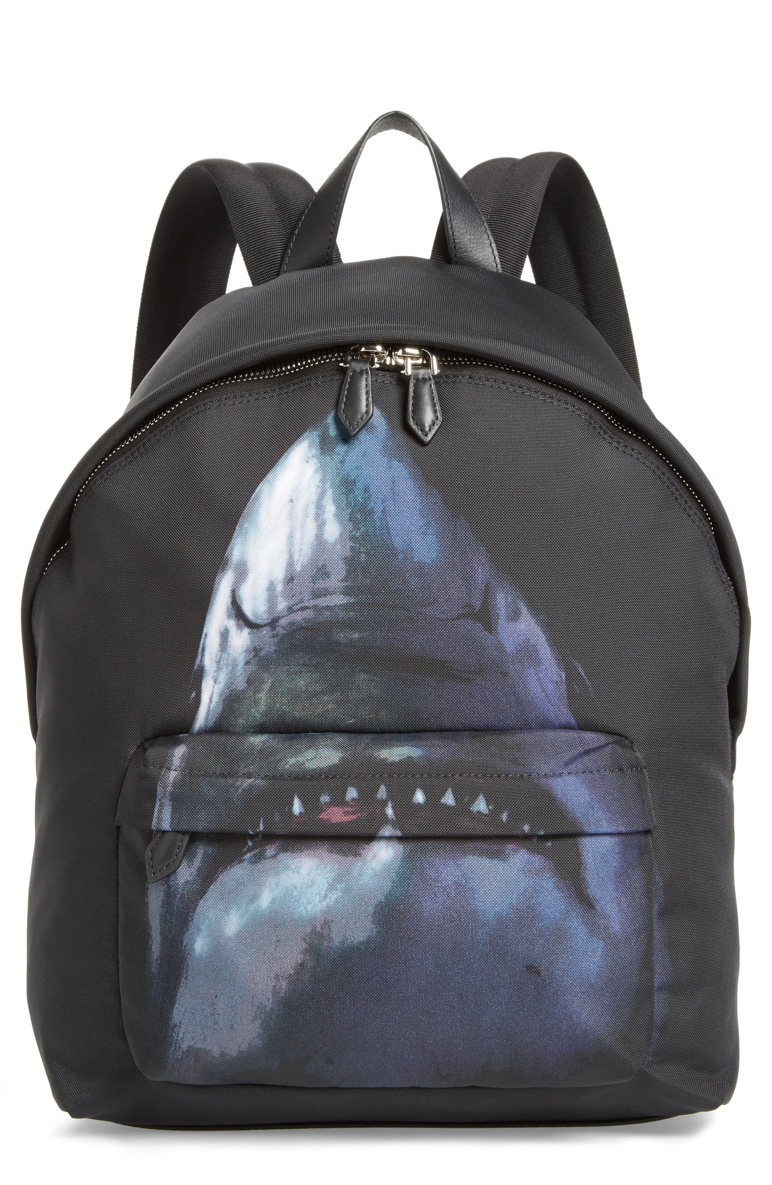 Shark Print Backpack,                         Main,                         color, MULTICOLORED