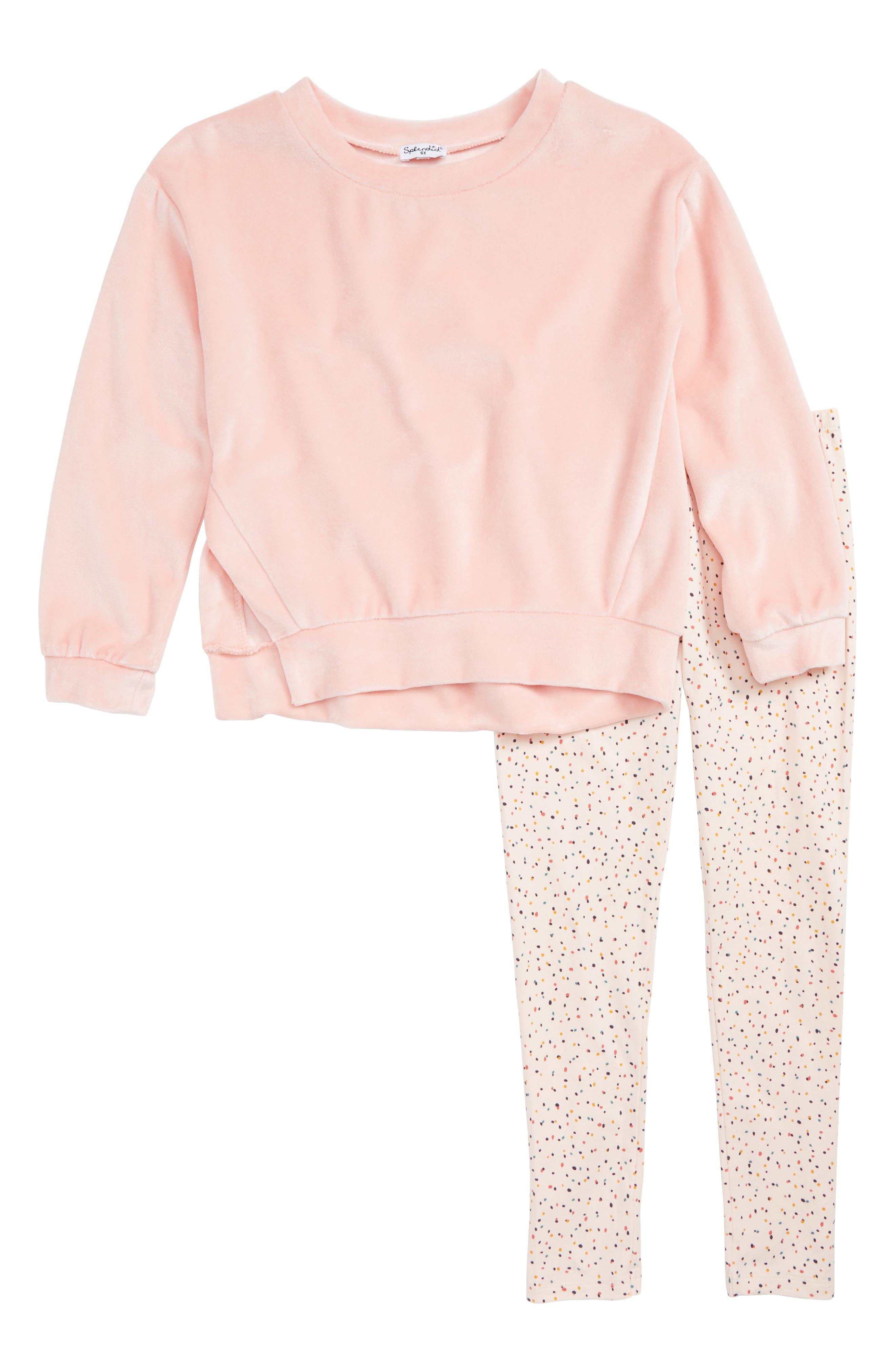 Velour Side Slit Sweatshirt & Leggings Set,                             Main thumbnail 1, color,                             MELLOW ROSE