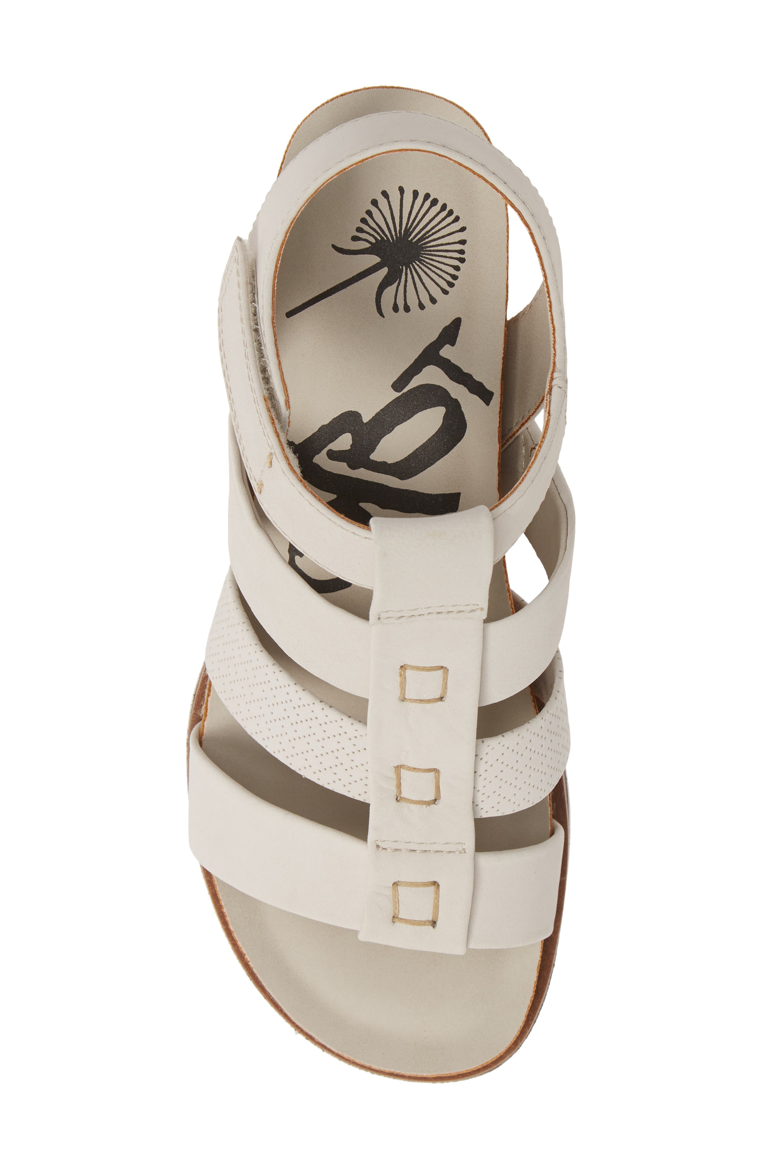 New Moon Wedge Sandal,                             Alternate thumbnail 5, color,                             DOVE GREY LEATHER