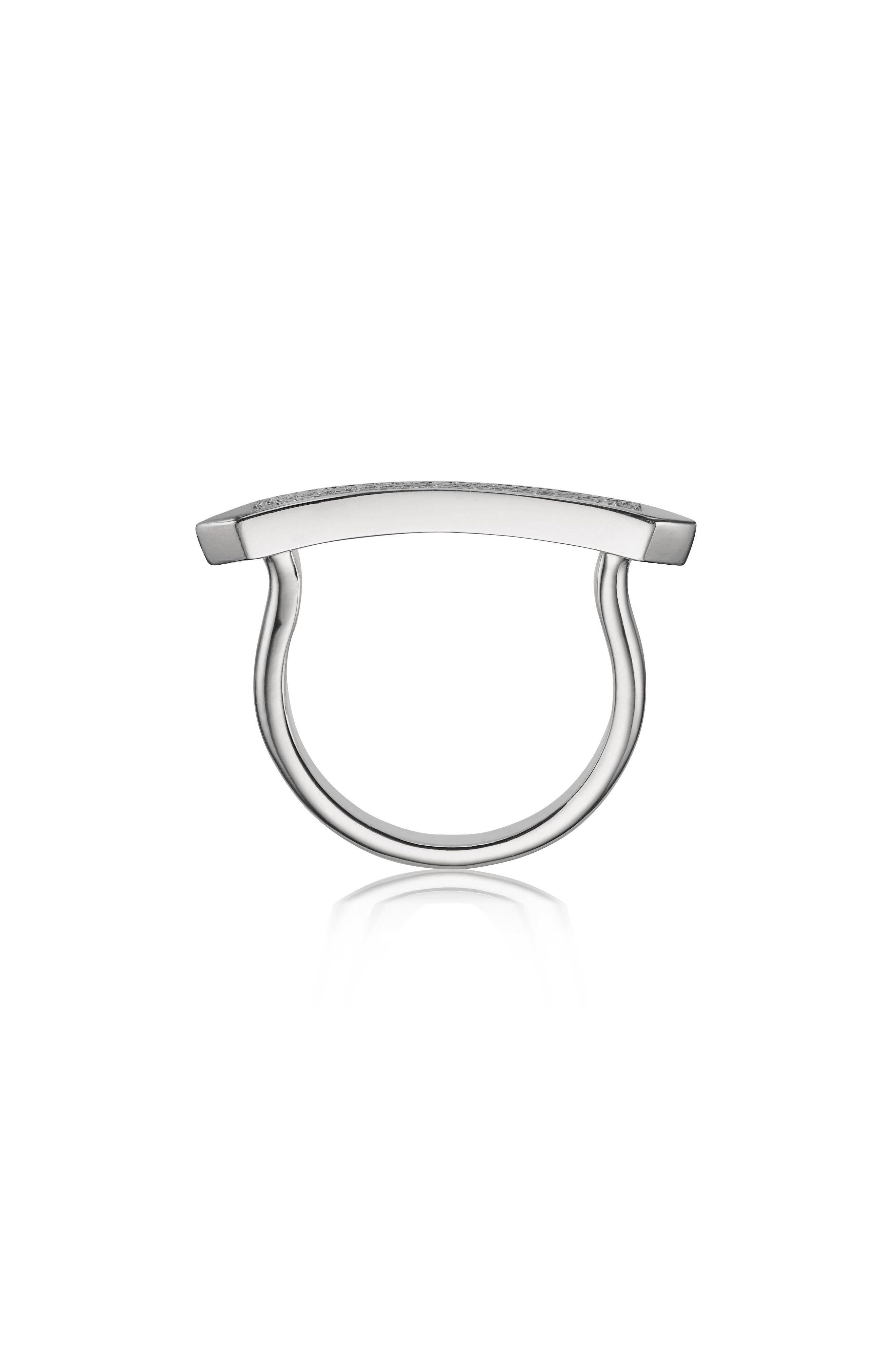Baja Skinny Diamond Stacking Ring,                             Alternate thumbnail 2, color,                             SILVER