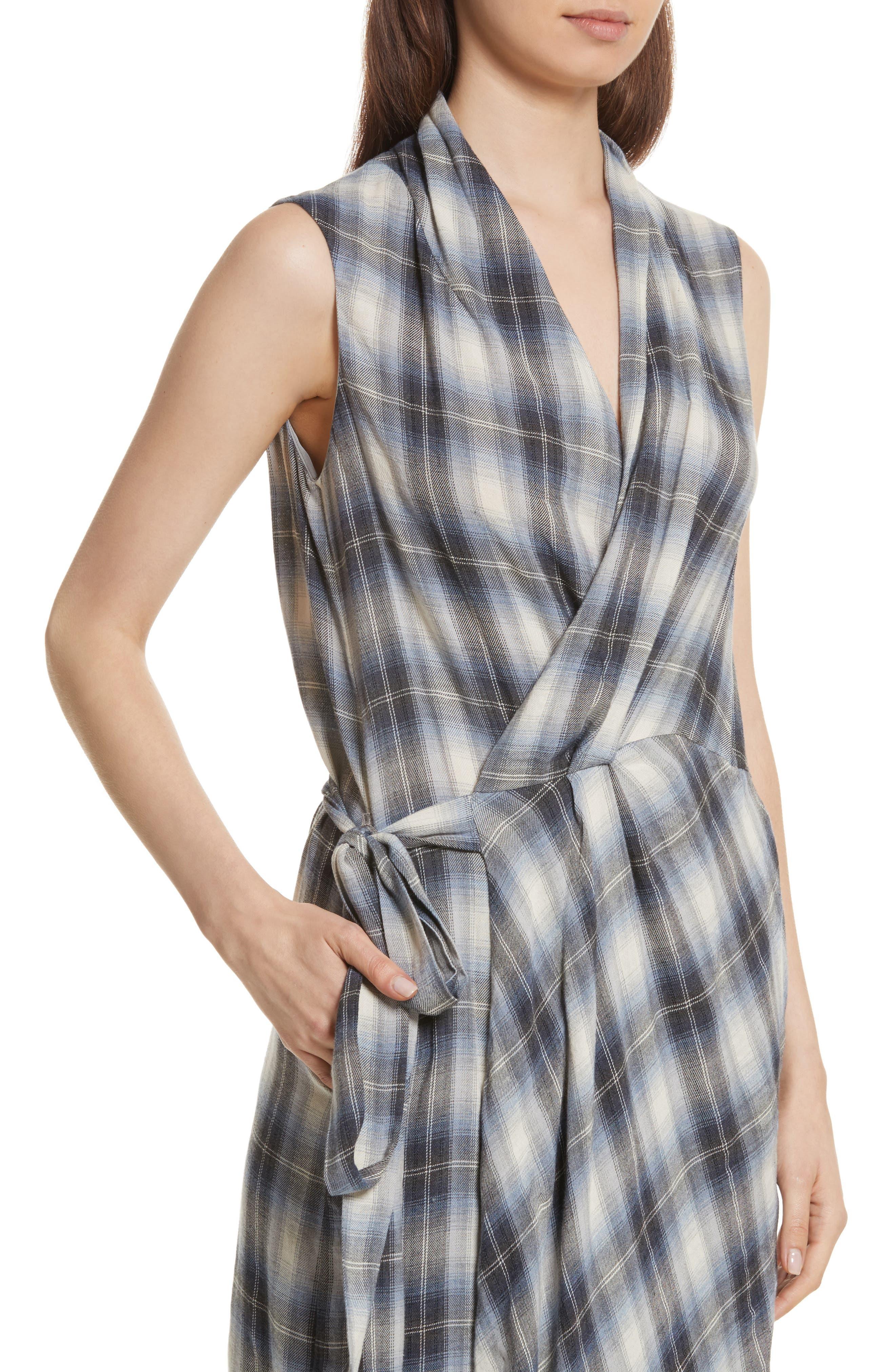 Shadow Plaid Sleeveless Wrap Dress,                             Alternate thumbnail 4, color,                             409