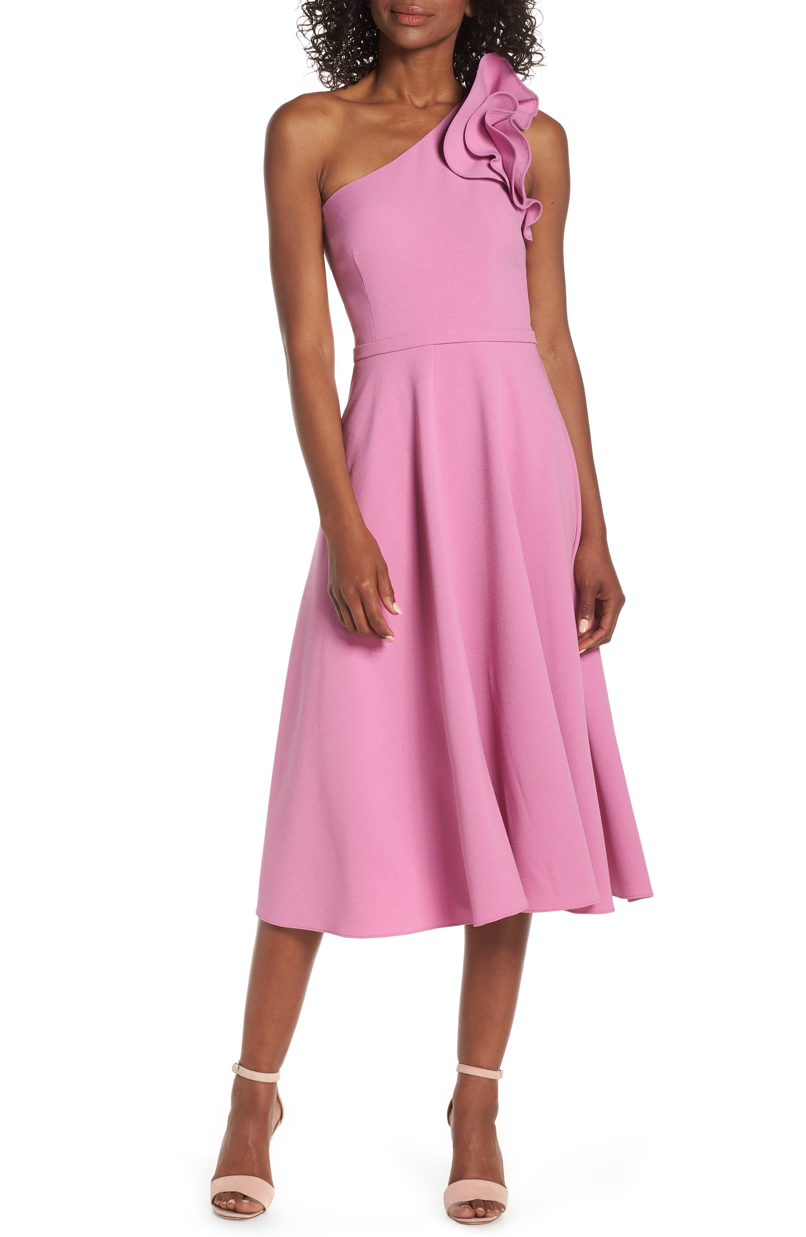 Eliza J Ruffle One-Shoulder Fit & Flare Dress, Pink
