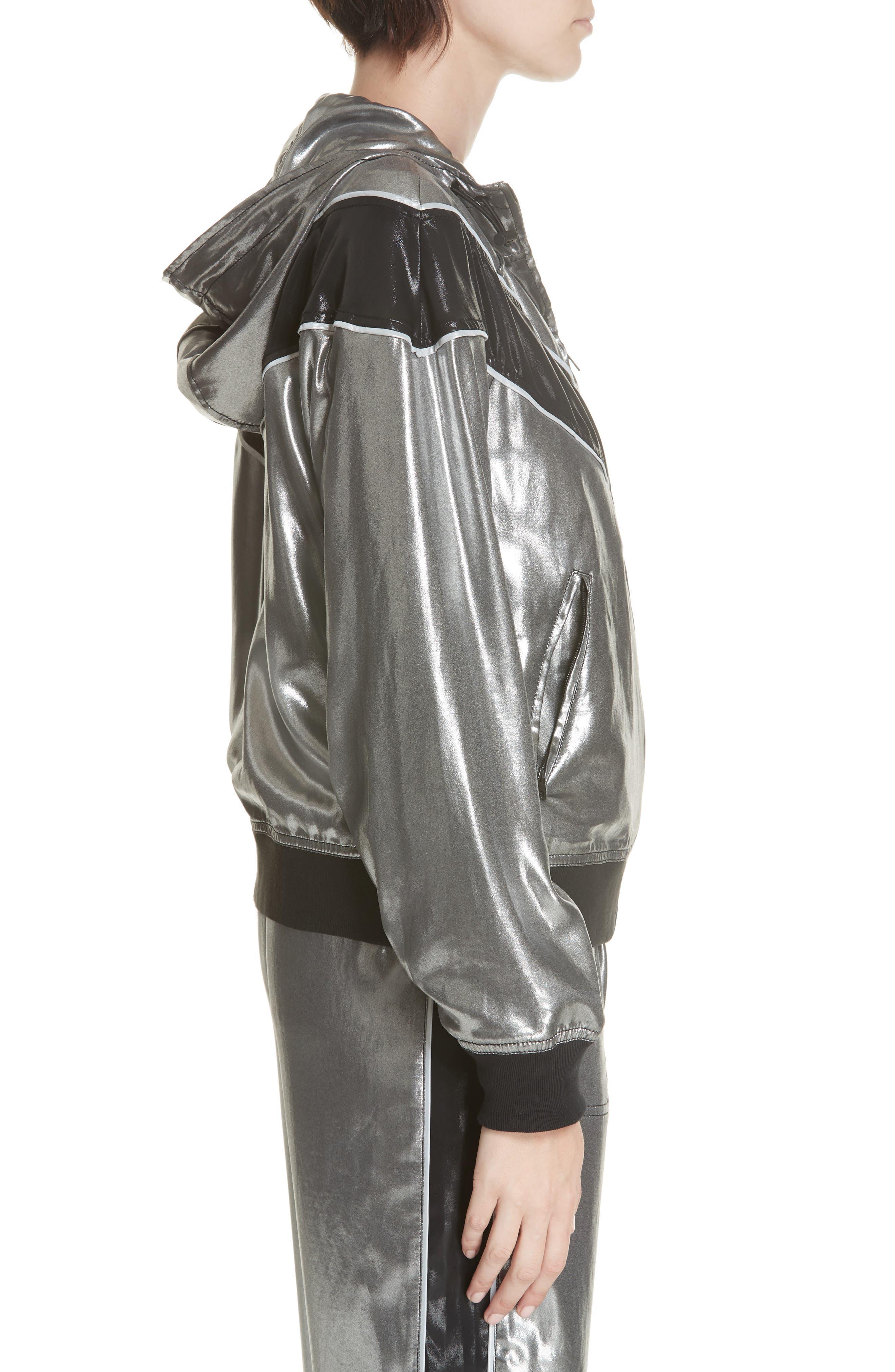 RAG & BONE,                             Sloane Metallic Track Jacket,                             Alternate thumbnail 4, color,                             SILVER/ BLACK