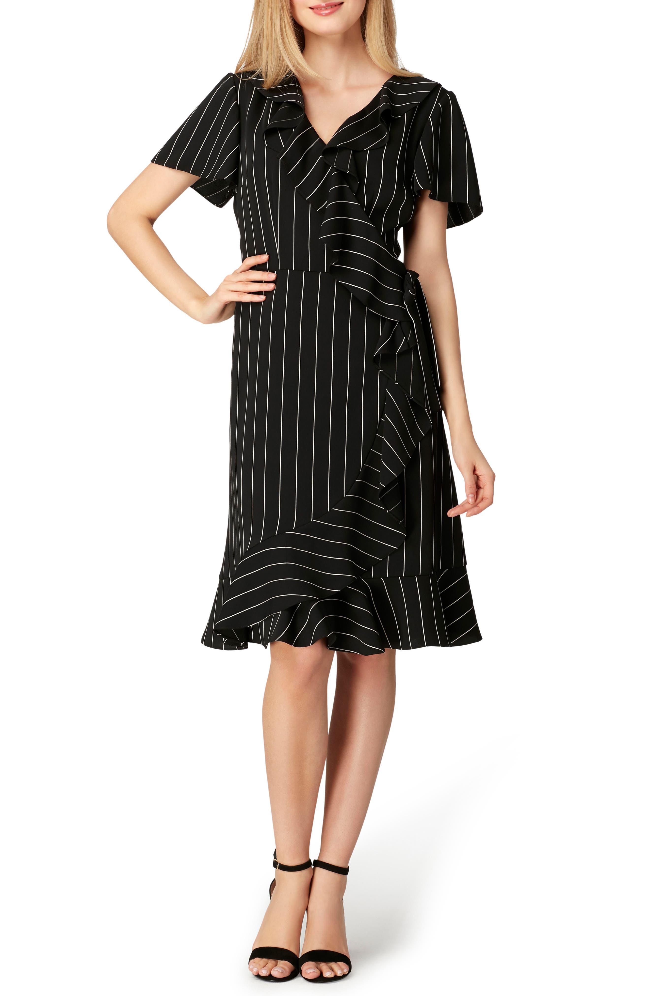 Stripe Ruffle Faux Wrap Dress,                             Main thumbnail 1, color,                             003