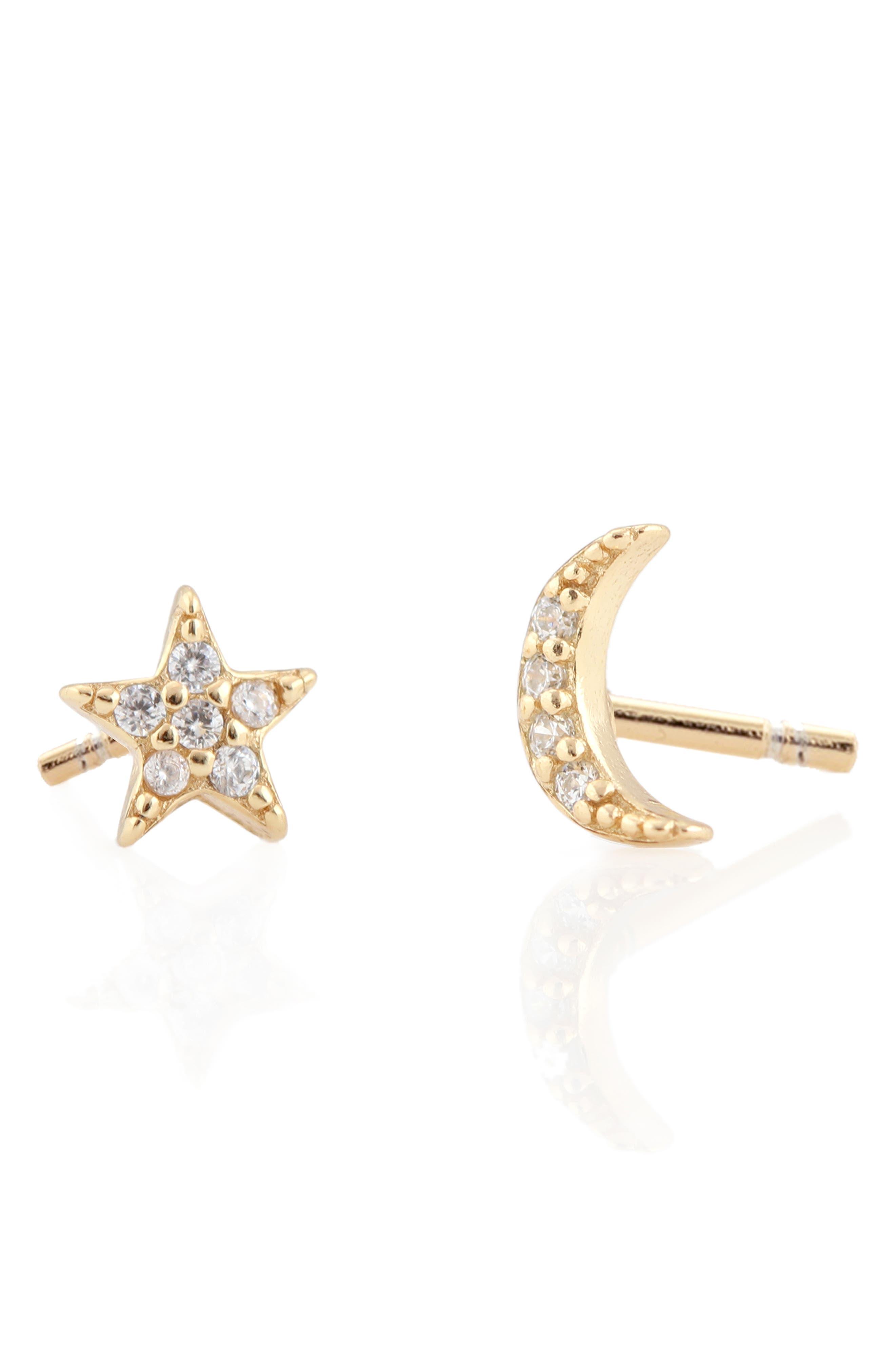 Pavé Star & Moon Stud Earrings,                         Main,                         color, GOLD