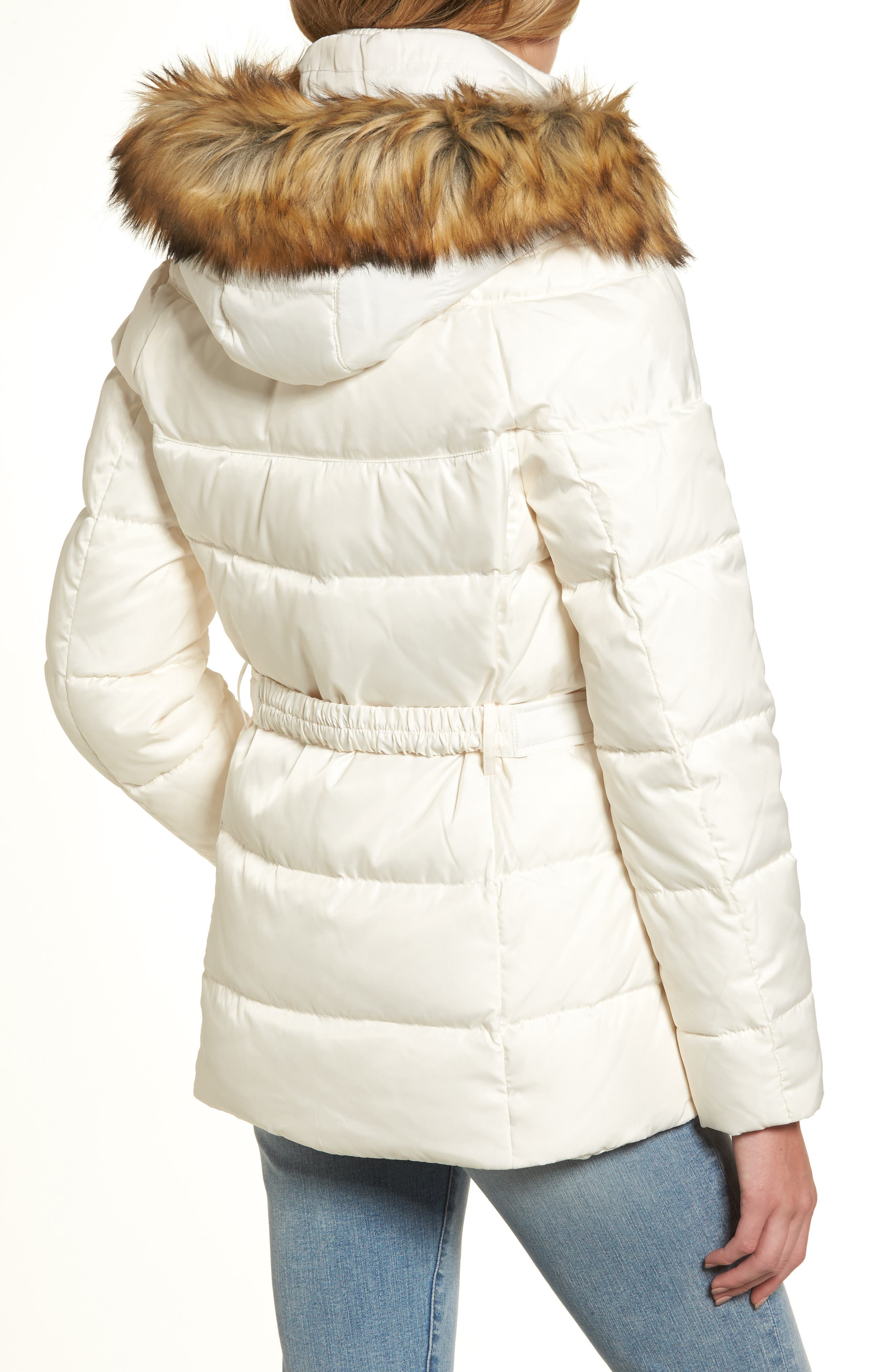 Belted Down & Feather Fill Coat with Faux Fur Trim Hood,                             Alternate thumbnail 6, color,