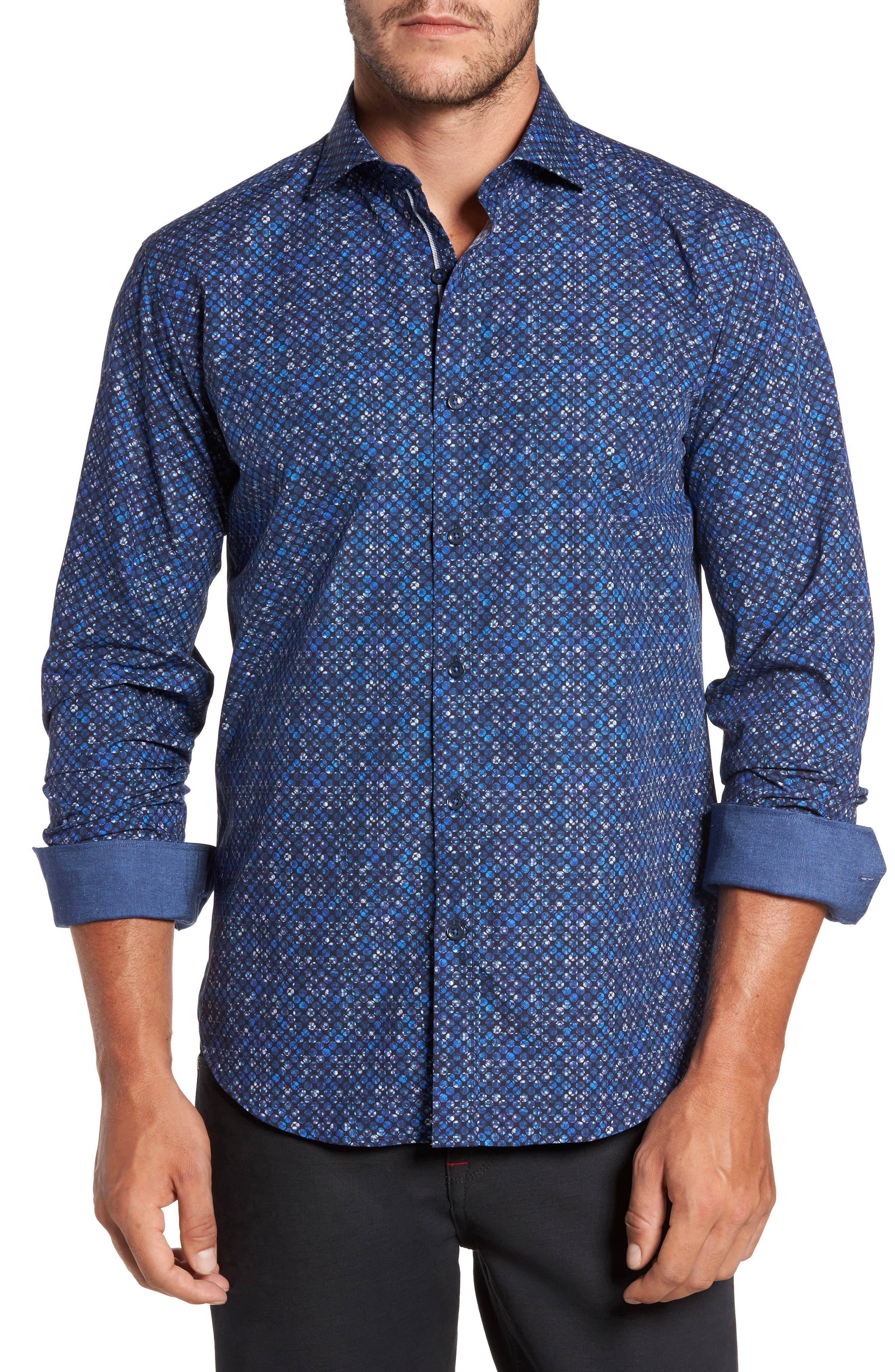 Shaped Fit Print Sport Shirt,                         Main,                         color, 410