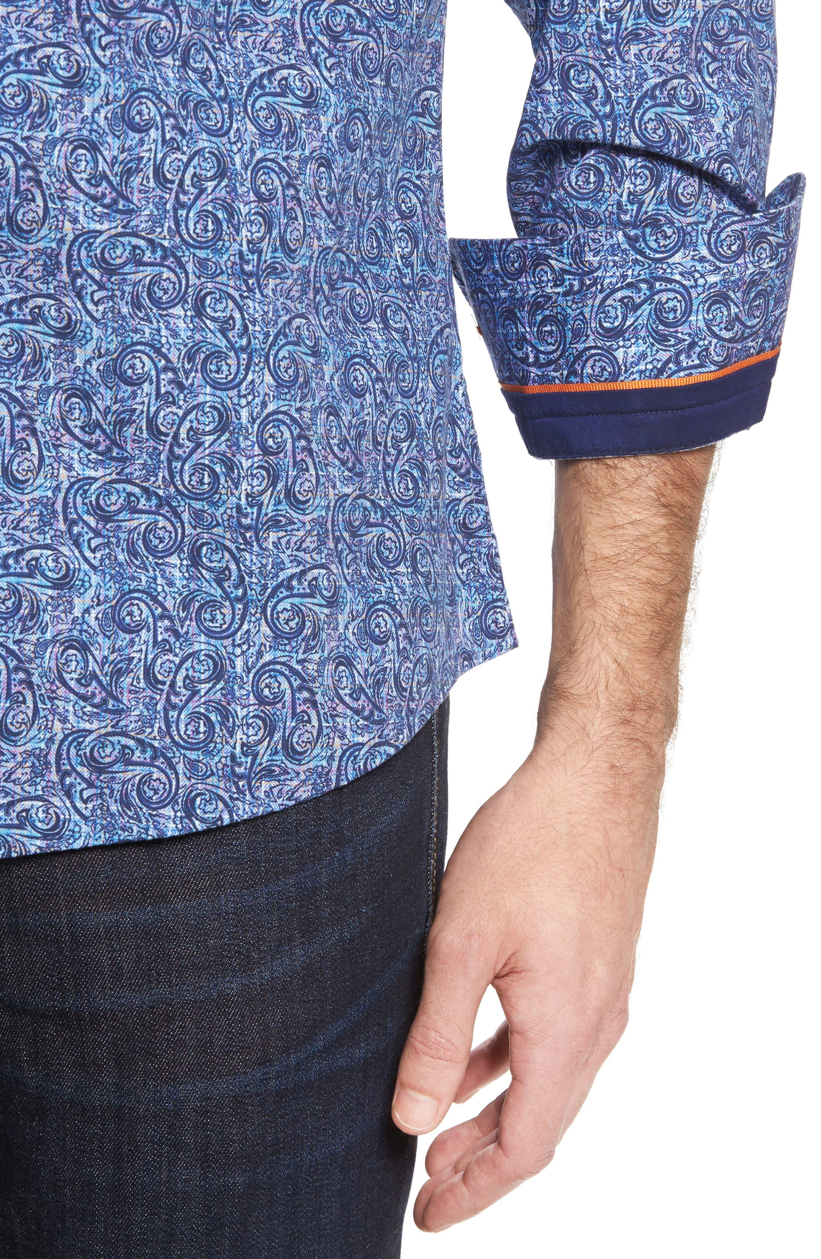 Slim Fit Paisley Plaid FX Sport Shirt,                             Alternate thumbnail 4, color,                             410
