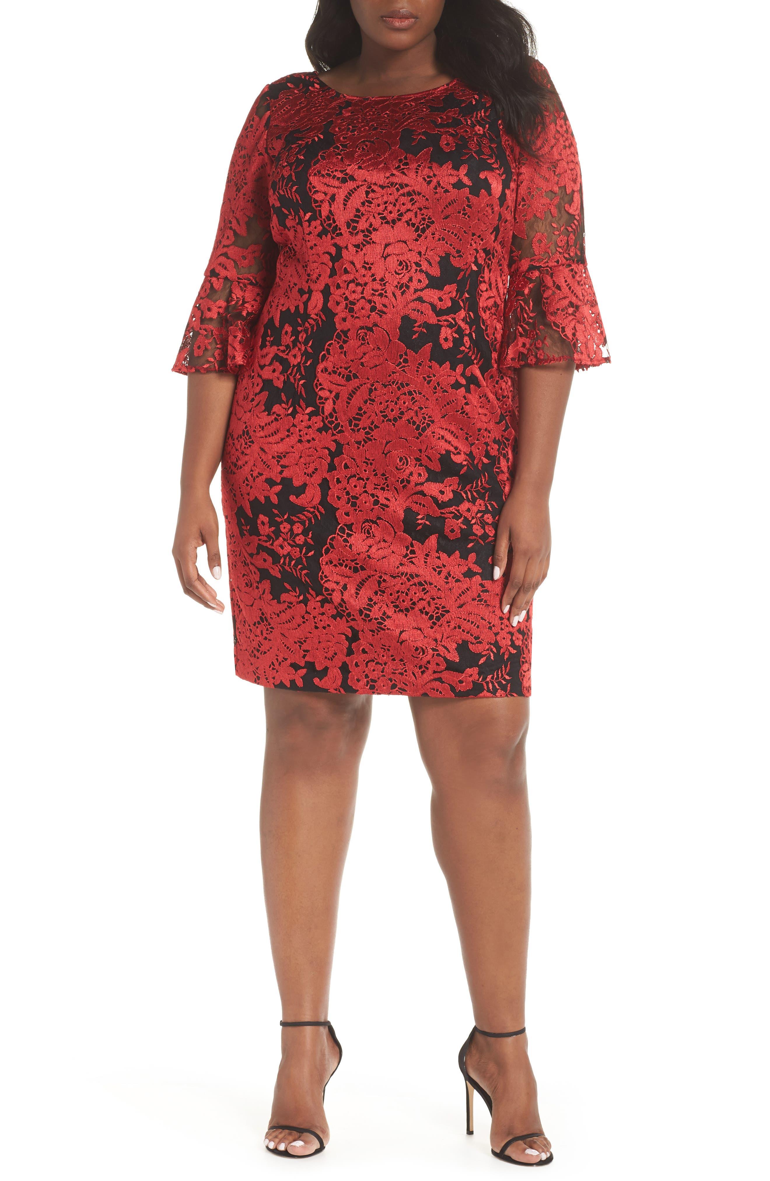 Plus Size Alex Evenings Embroidered Lace Shift Dress, Black