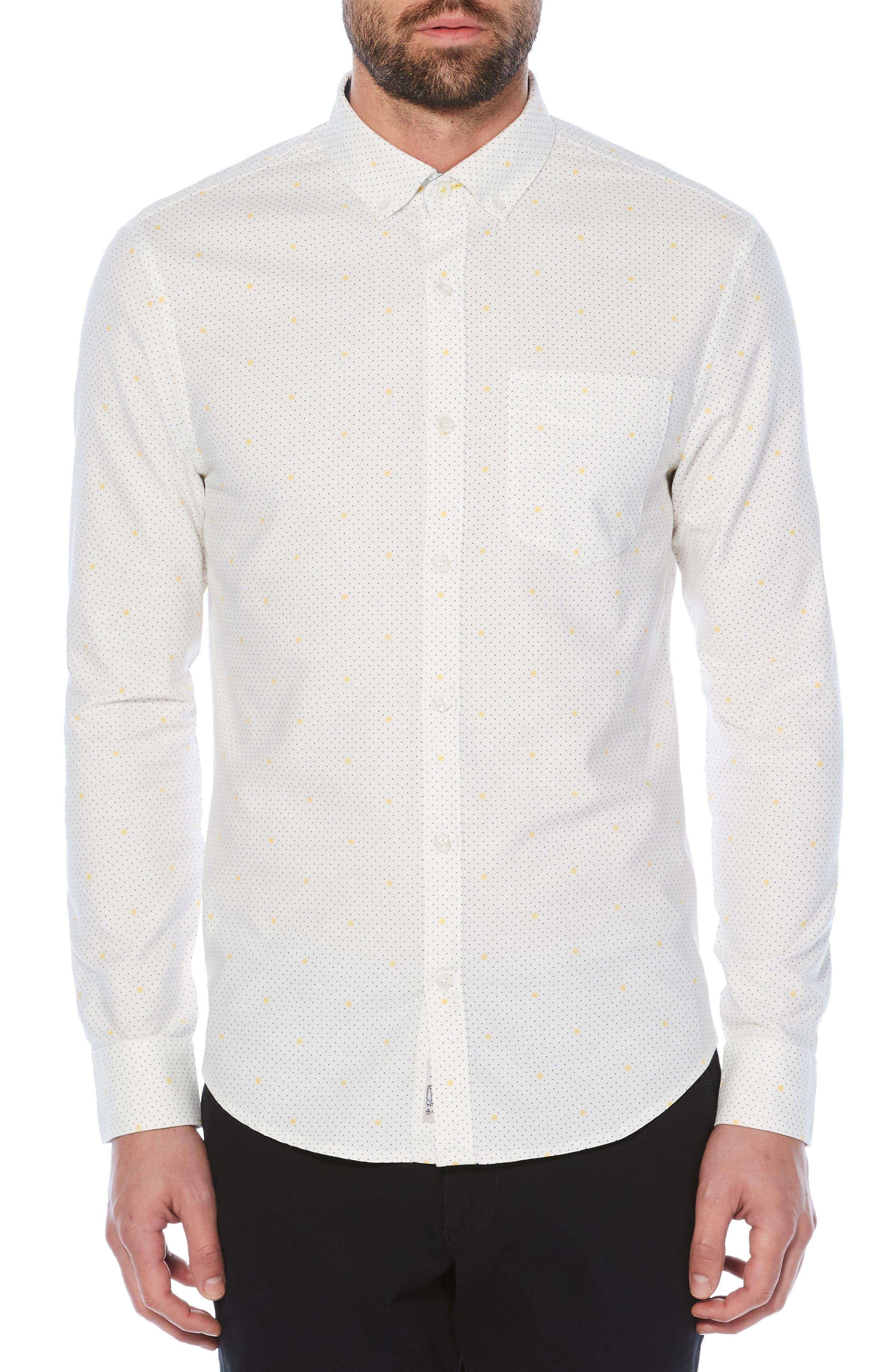 Polka Dot Lemon Woven Shirt,                             Main thumbnail 1, color,                             118
