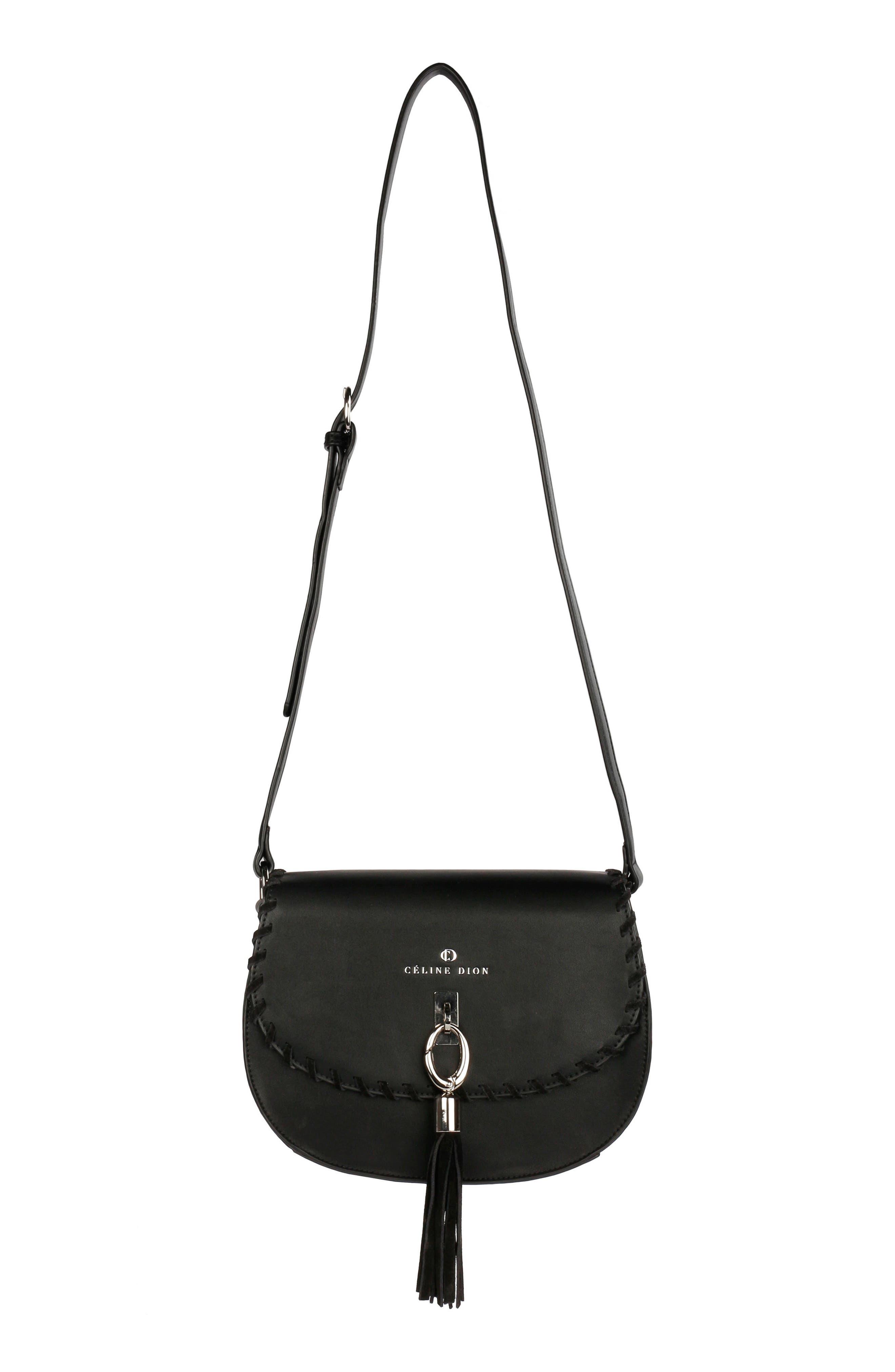 Céline Dion Espressivo Faux Leather Saddle Bag,                             Main thumbnail 1, color,                             001