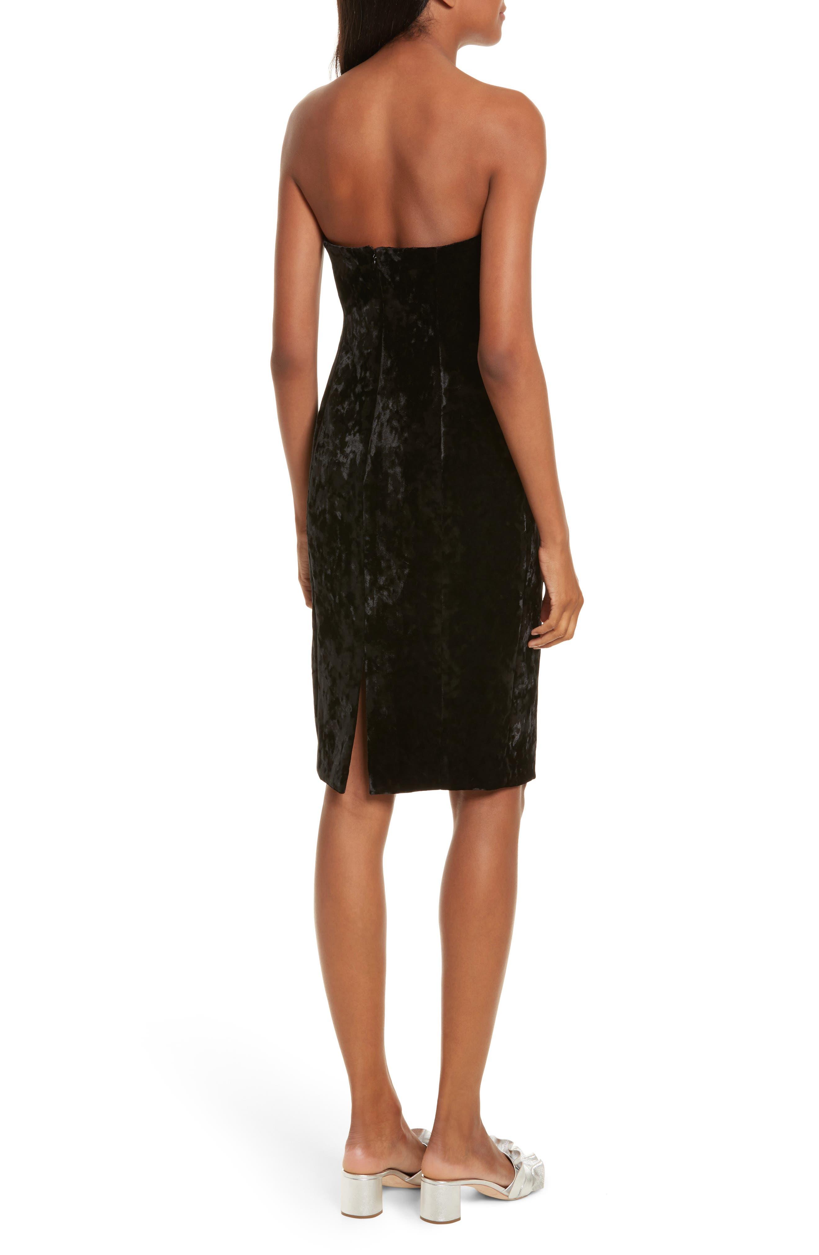 Strapless Velvet Dress,                             Alternate thumbnail 2, color,                             001