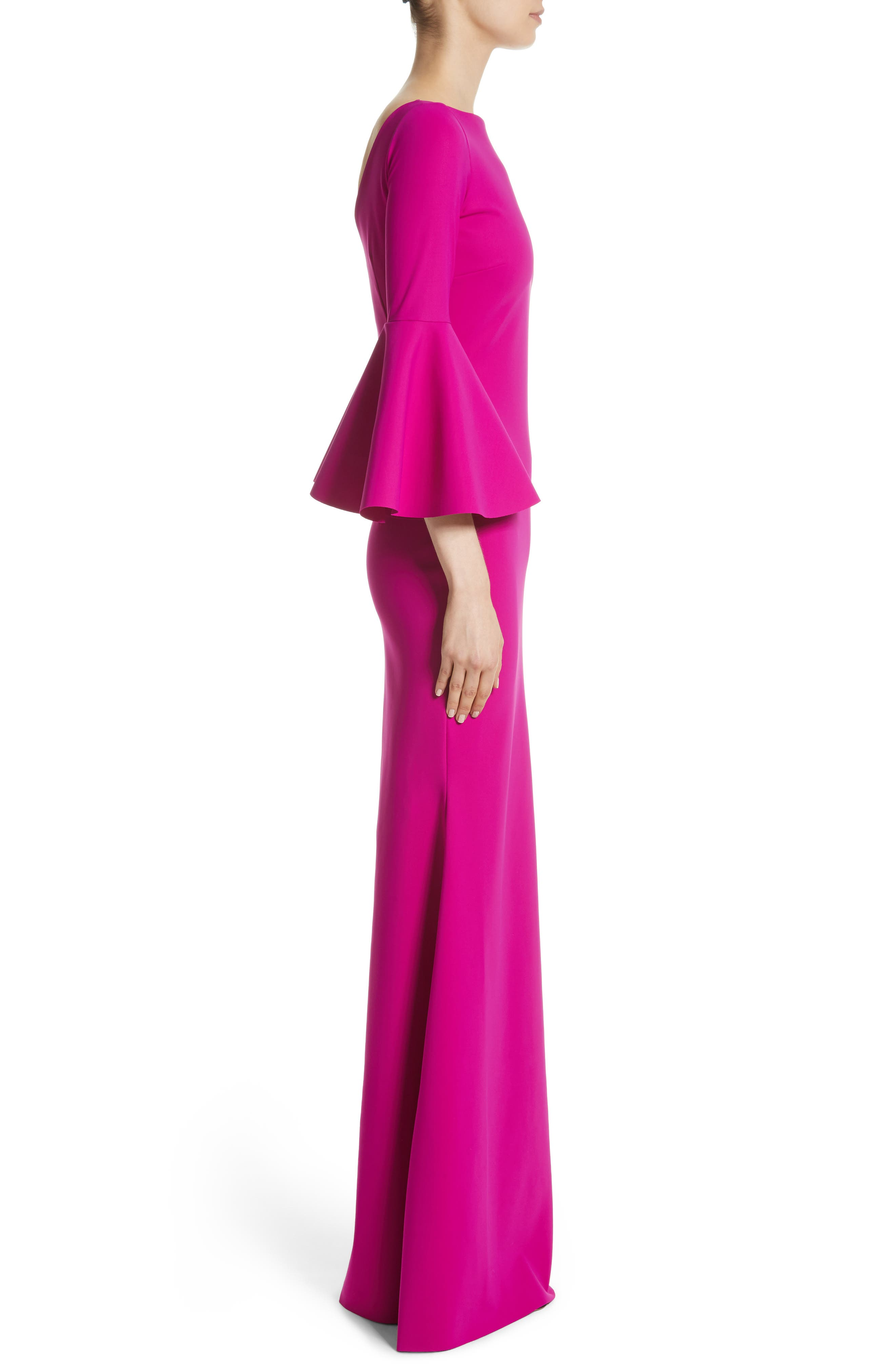 Iva Bell Sleeve Gown,                             Alternate thumbnail 3, color,                             CYCLAMEN/ MAGENTA