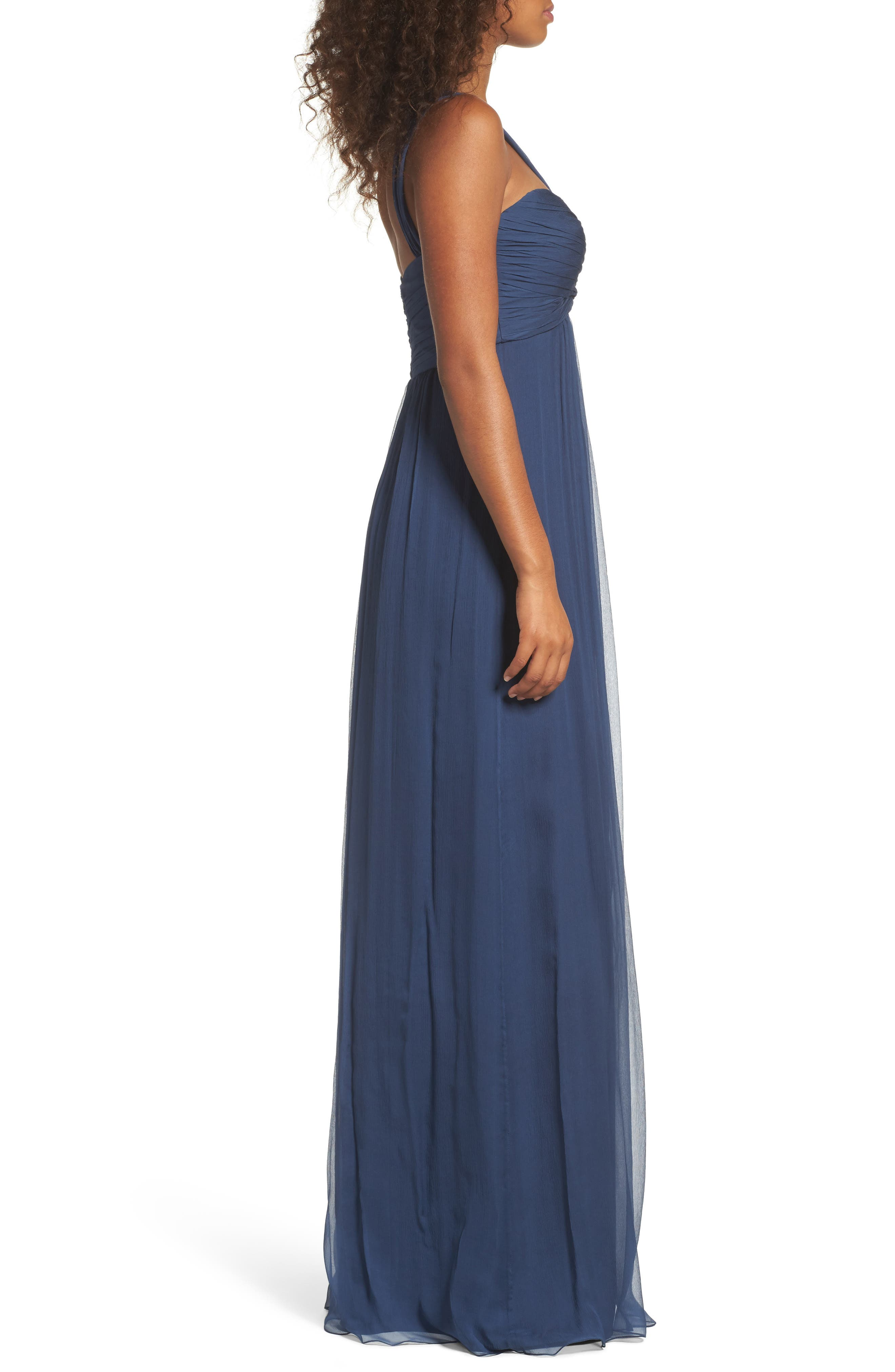Corbin Crinkled Chiffon Empire Gown,                             Alternate thumbnail 6, color,