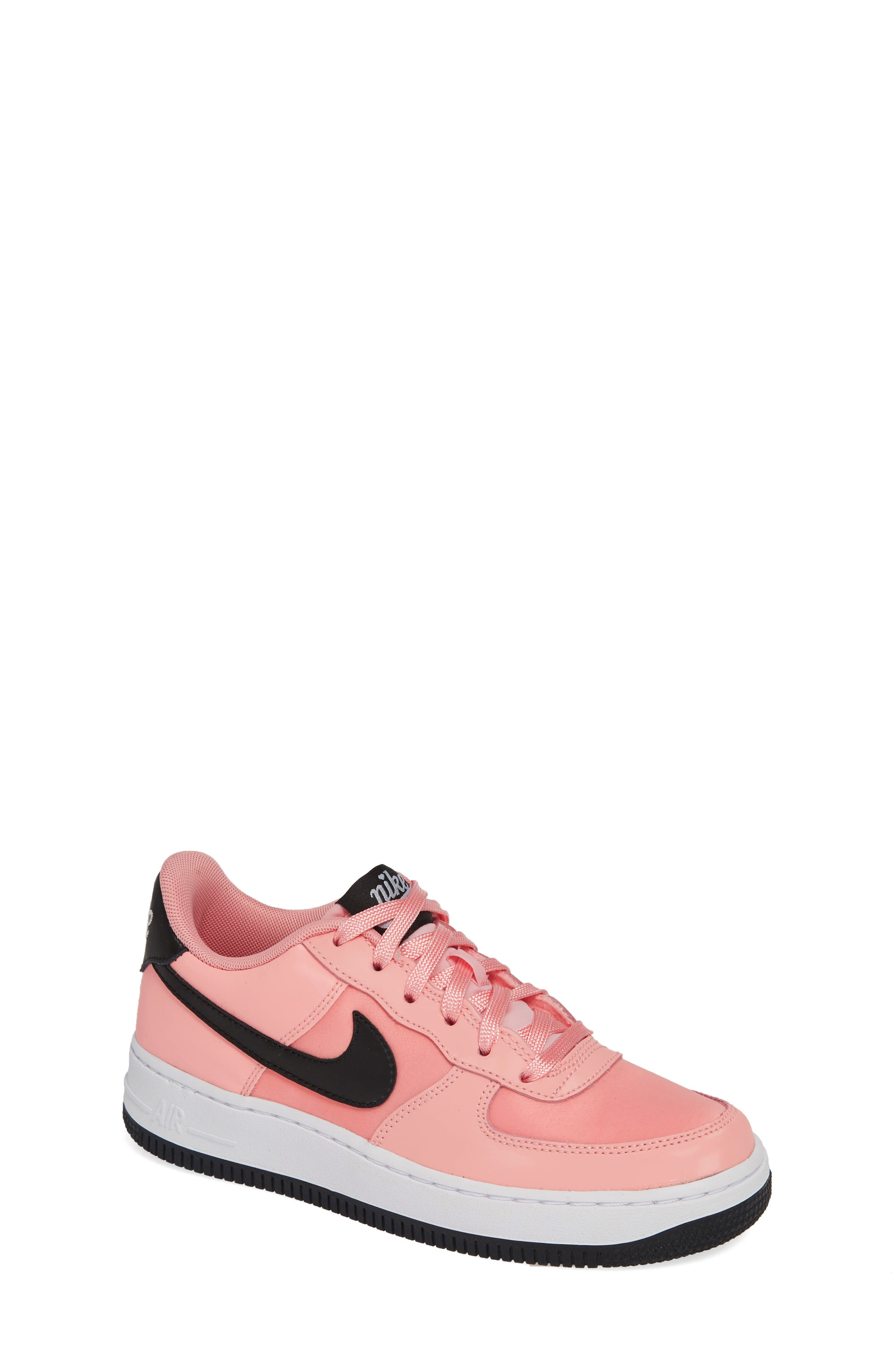 Air Force 1 VDAY Sneaker,                             Main thumbnail 1, color,                             BLEACHED CORAL/ BLACK-WHITE