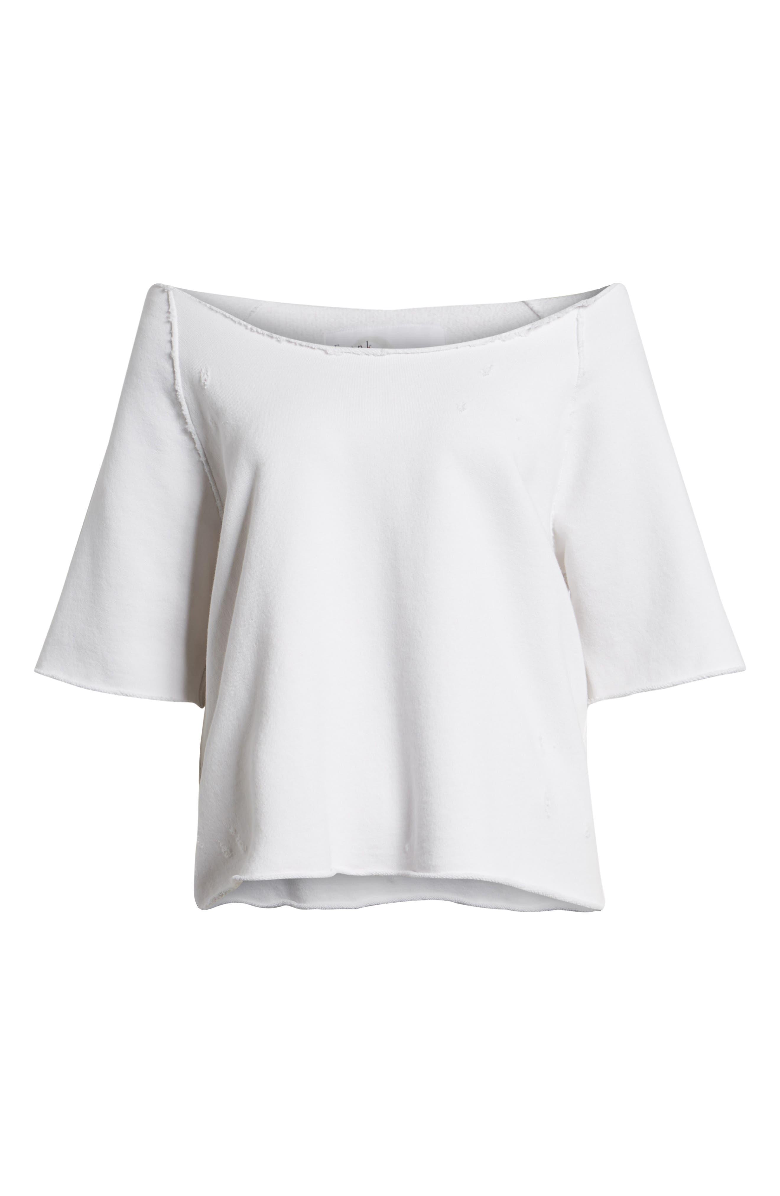 Raglan Off the Shoulder Sweatshirt,                             Alternate thumbnail 7, color,                             100