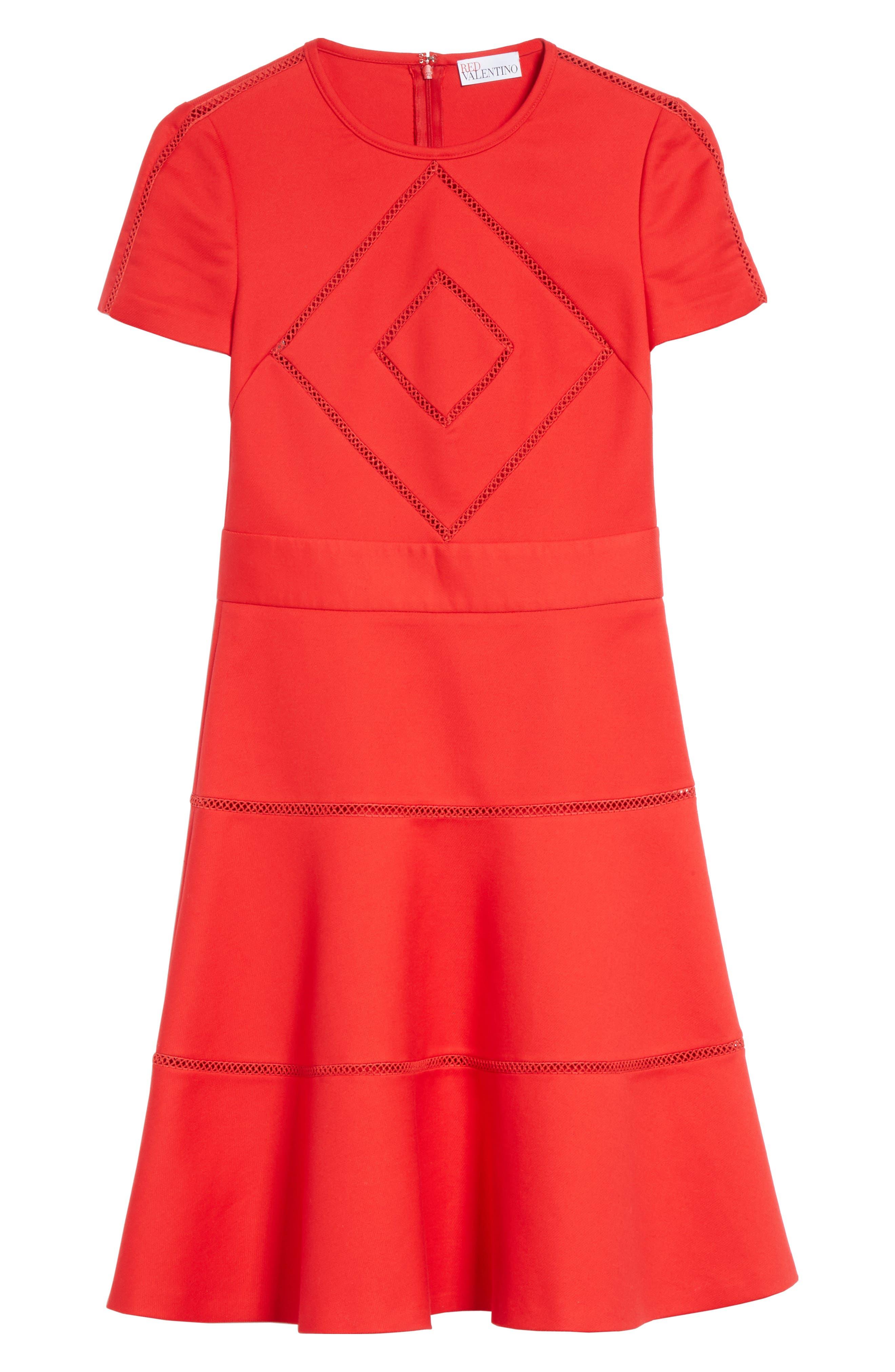 Open Stripe Fit & Flare Dress,                             Alternate thumbnail 6, color,                             610