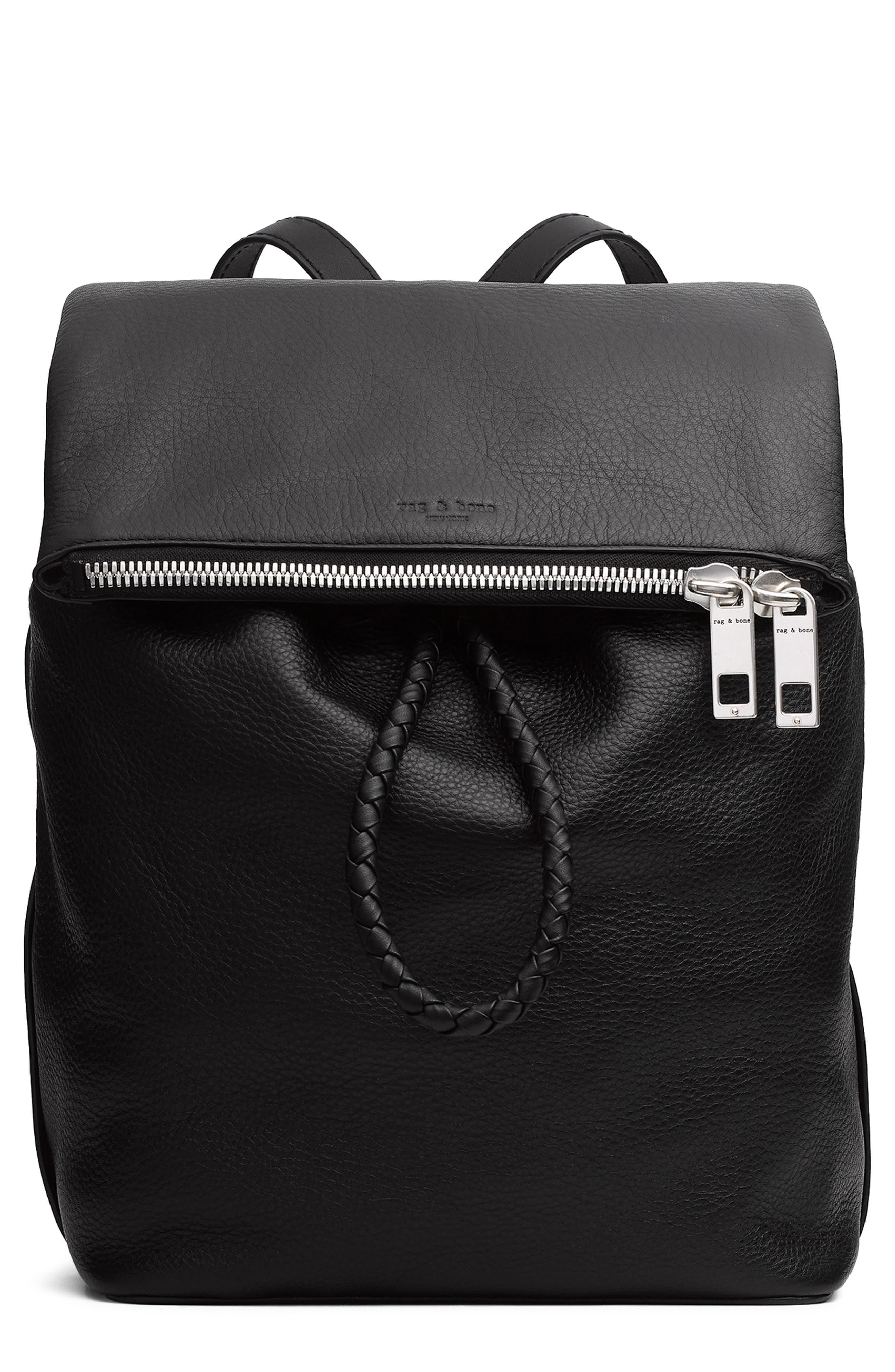 RAG & BONE Loner Leather Backpack, Main, color, BLACK
