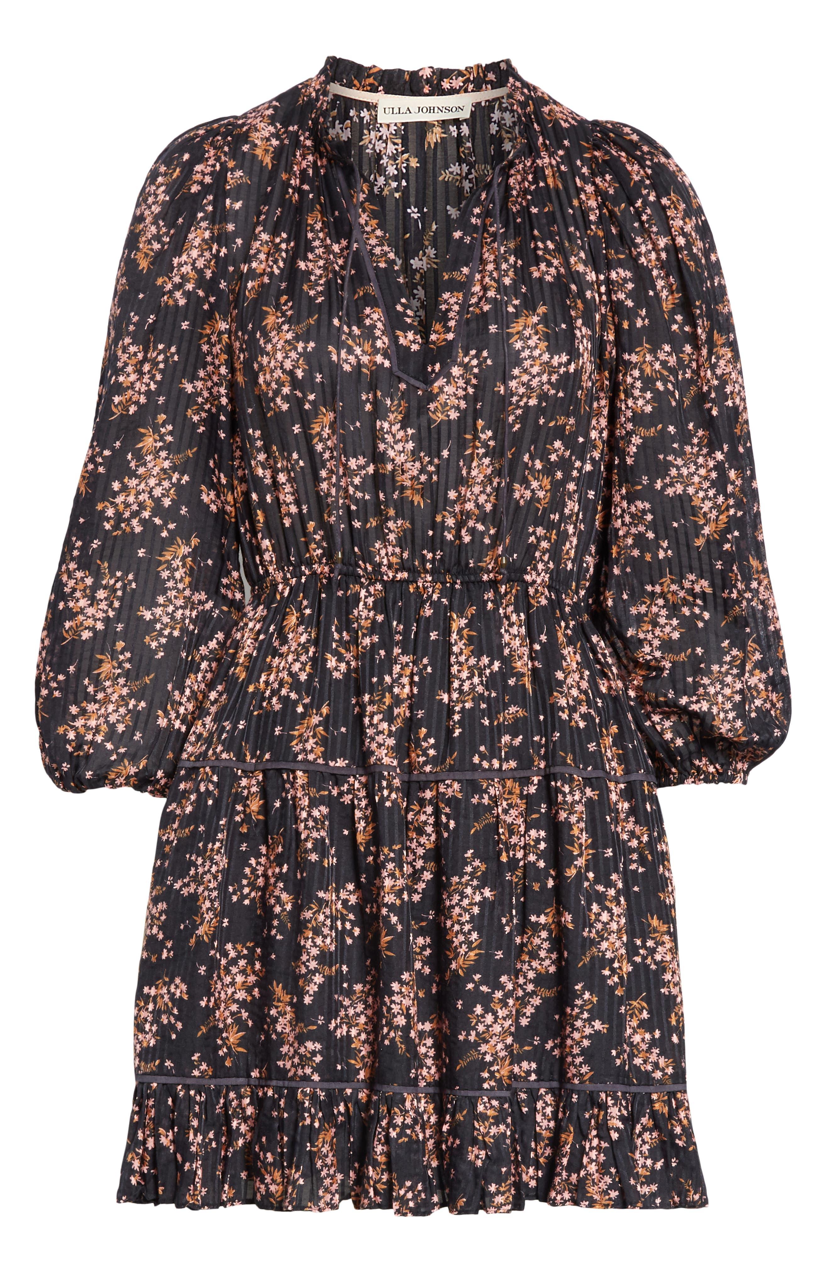 ULLA JOHNSON,                             Brienne Floral Print Cotton & Silk Minidress,                             Alternate thumbnail 7, color,                             JET