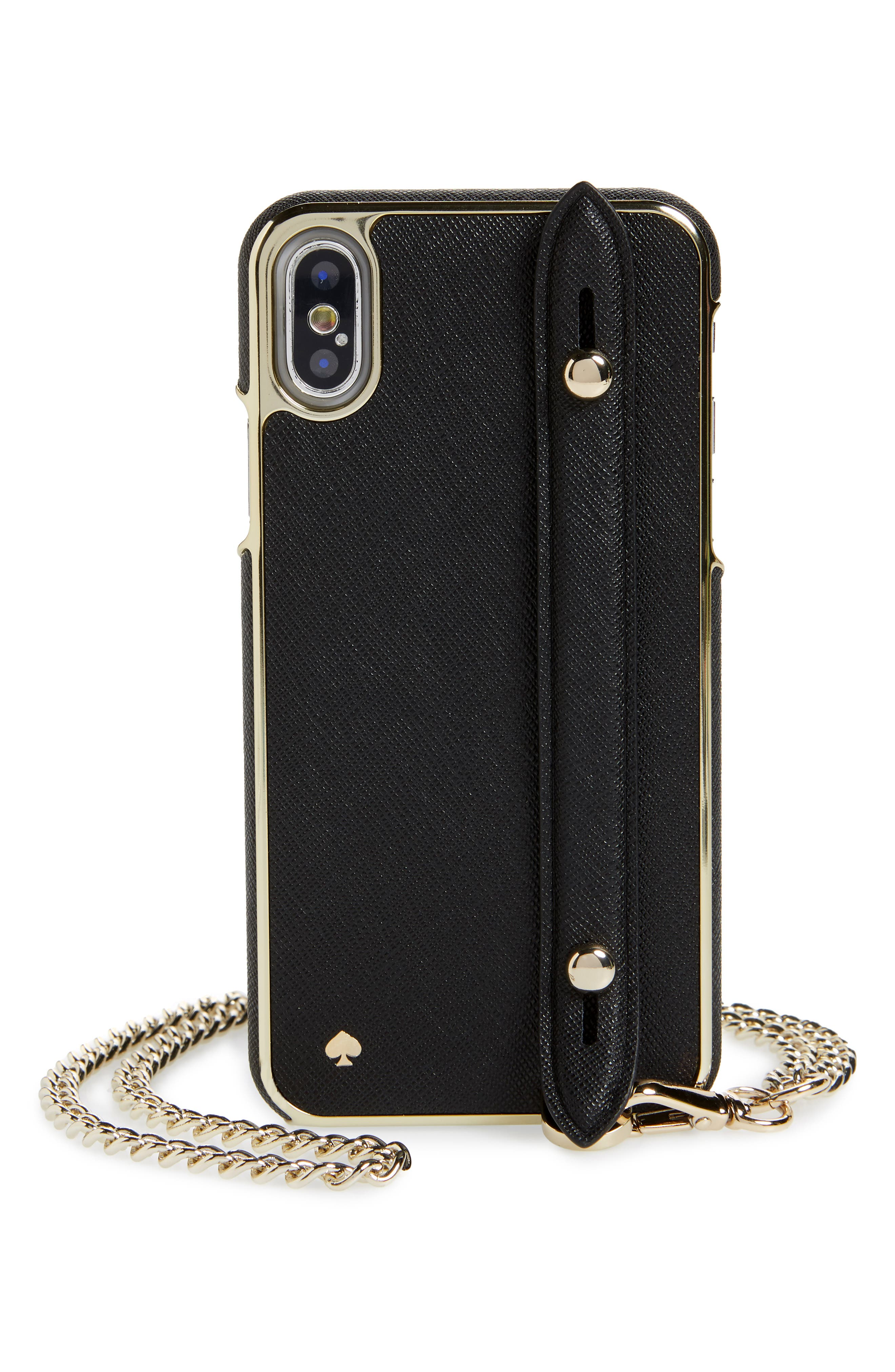 hand strap iPhone X/Xs crossbody case,                         Main,                         color, 001