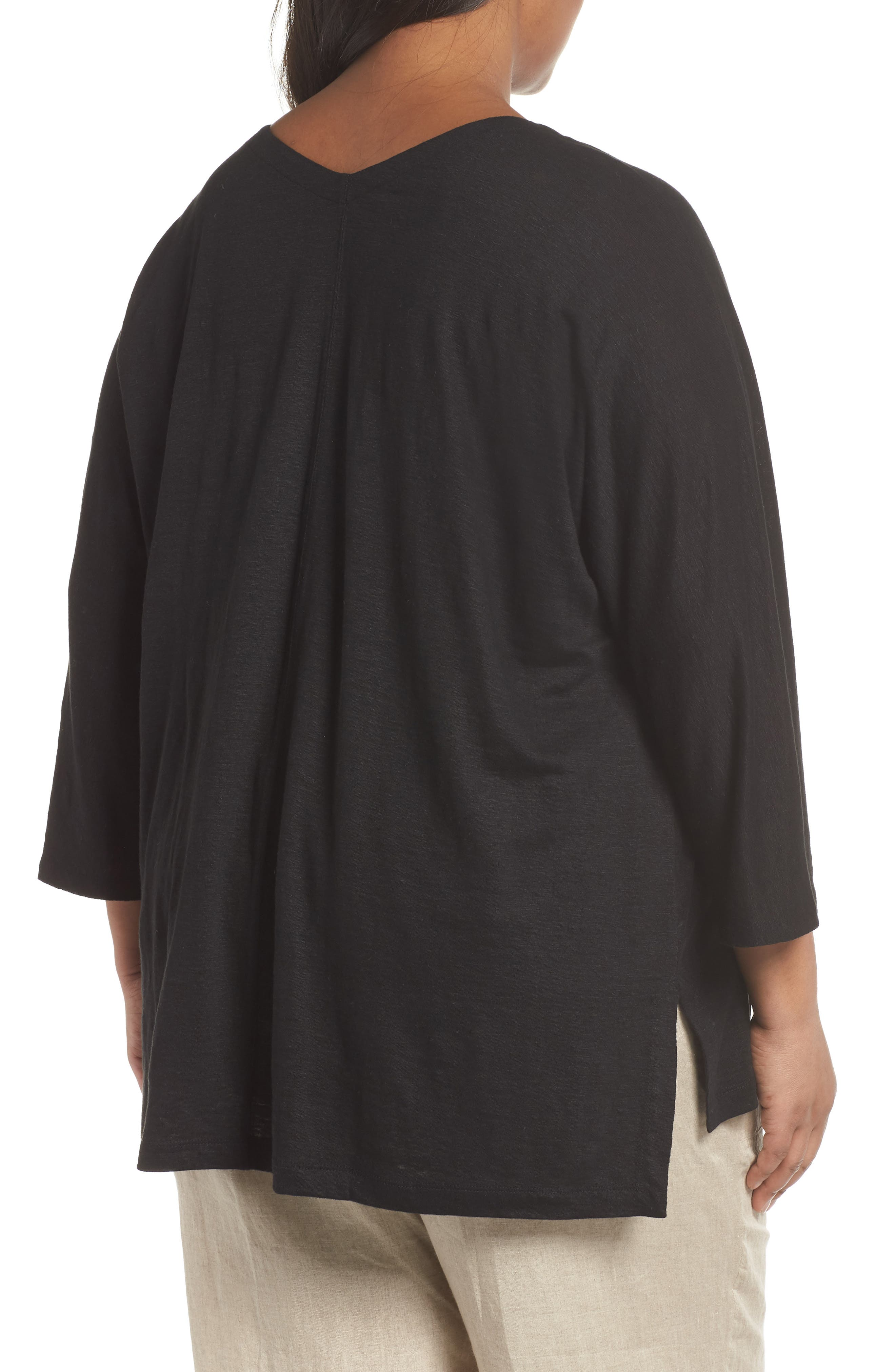 EILEEN FISHER,                             Organic Linen Top,                             Alternate thumbnail 2, color,                             001