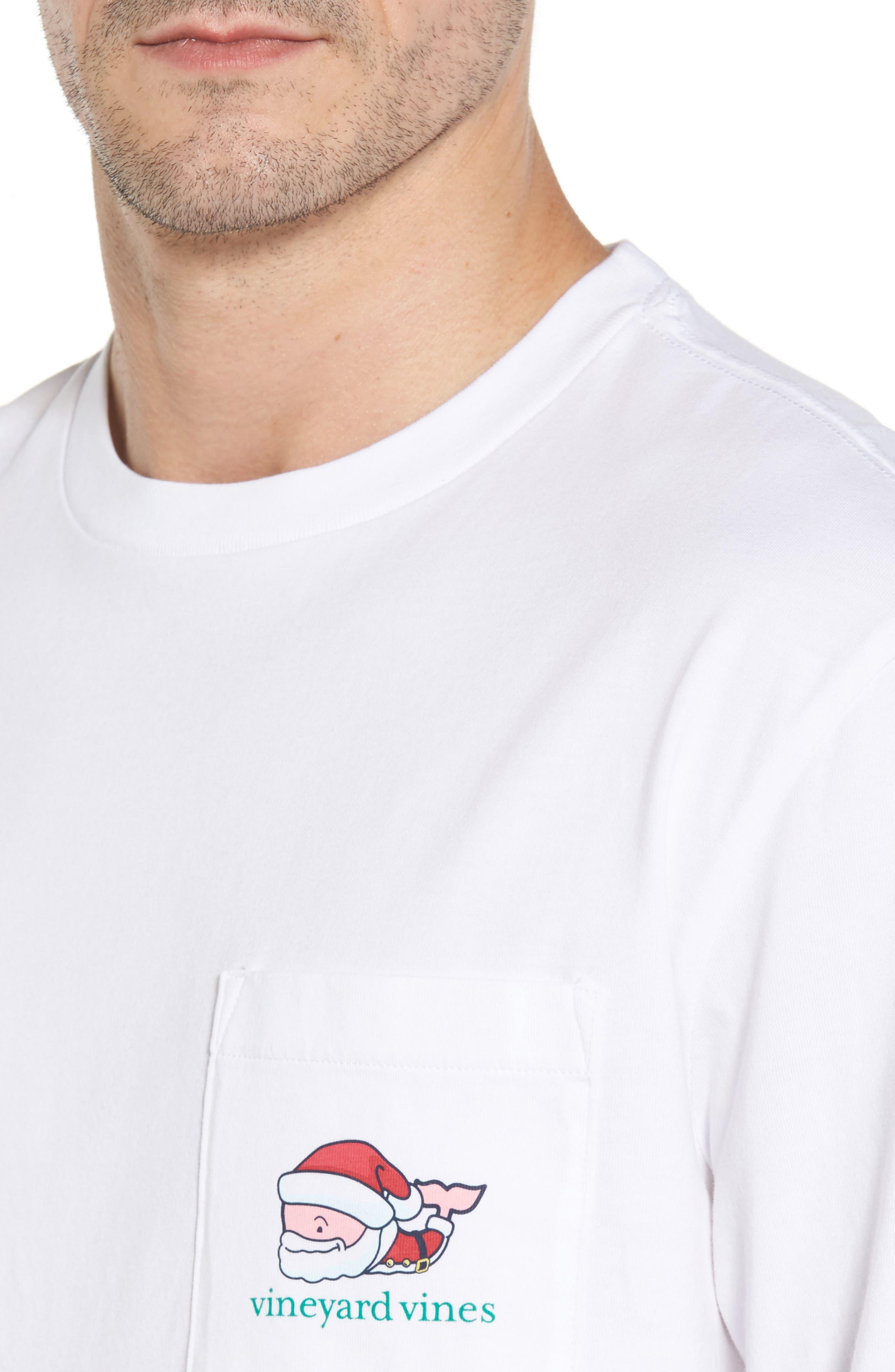 Mr. Claus Whale Graphic Pocket T-Shirt,                             Alternate thumbnail 4, color,                             100