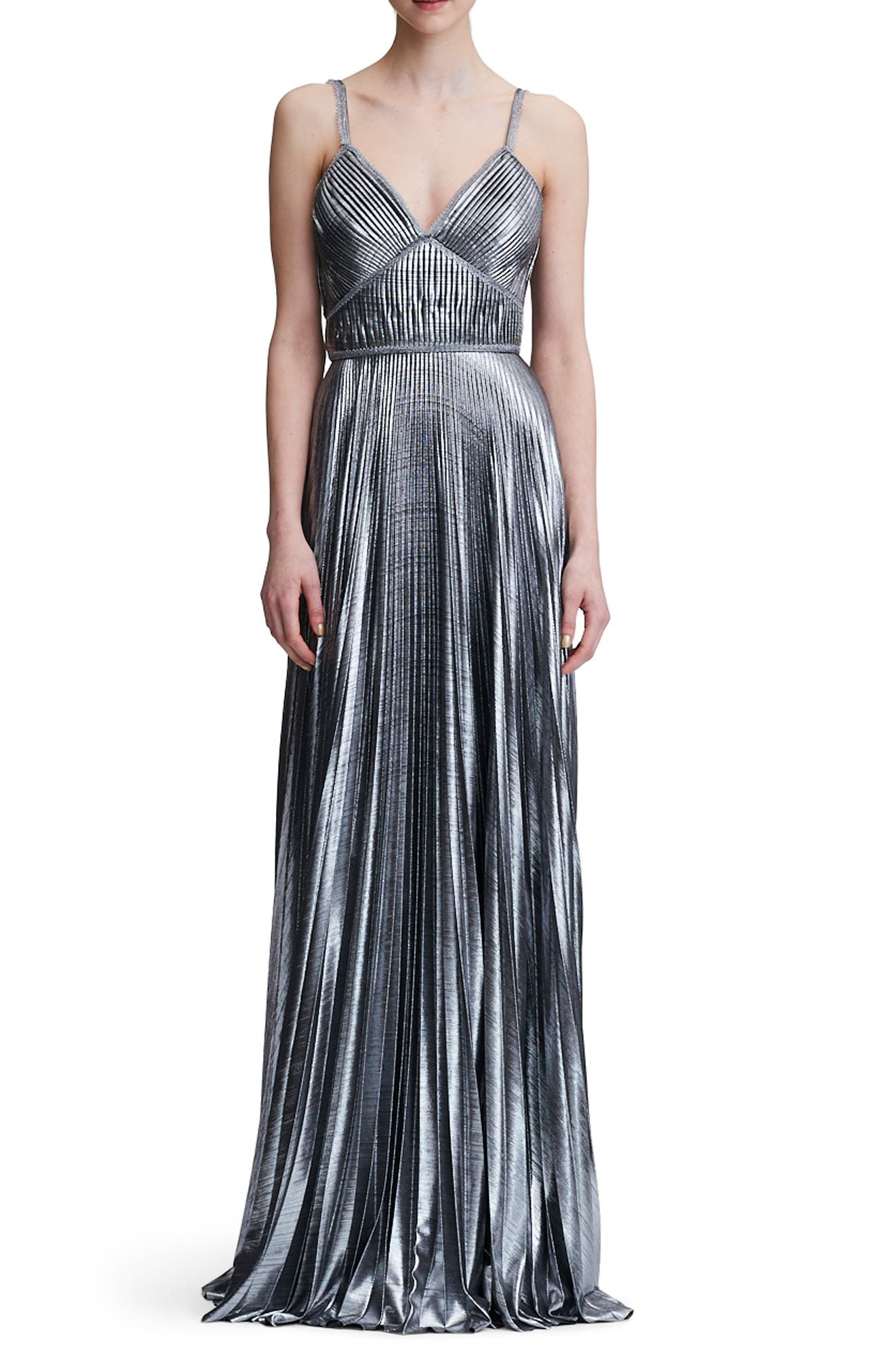 Pleated Lamé A-Line Gown,                             Main thumbnail 1, color,                             SILVER