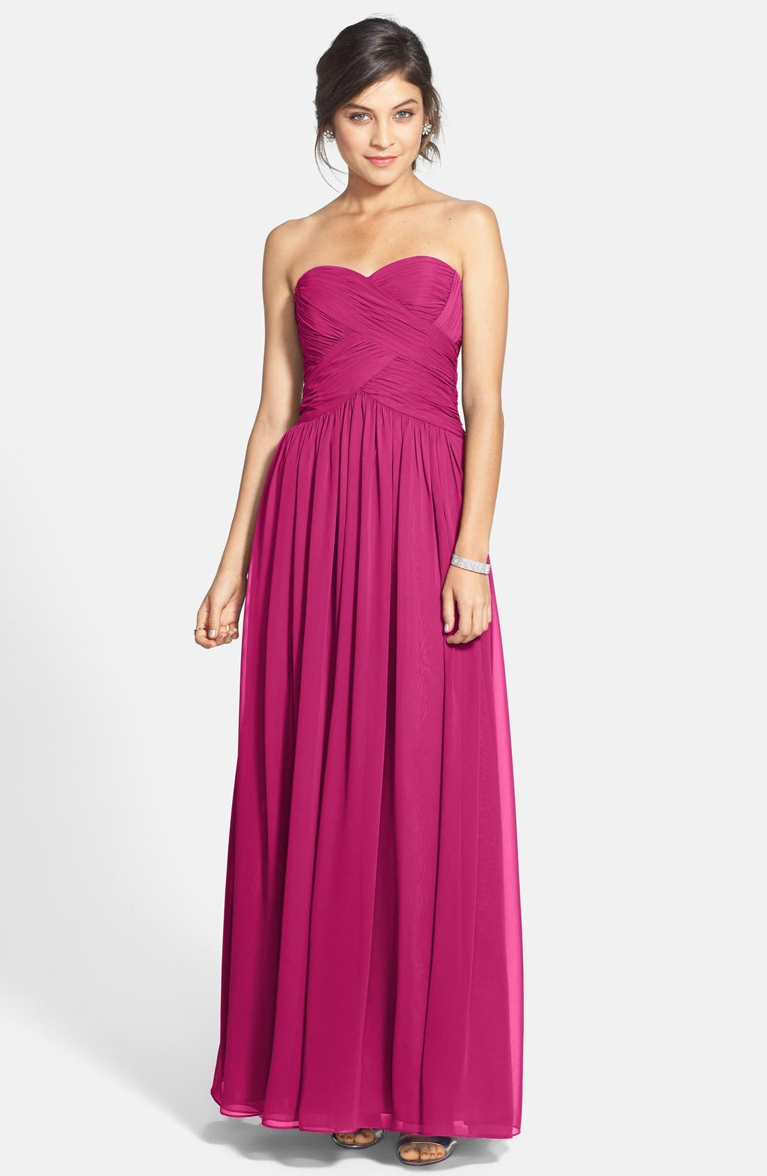 Strapless Ruched Chiffon Gown,                             Main thumbnail 6, color,