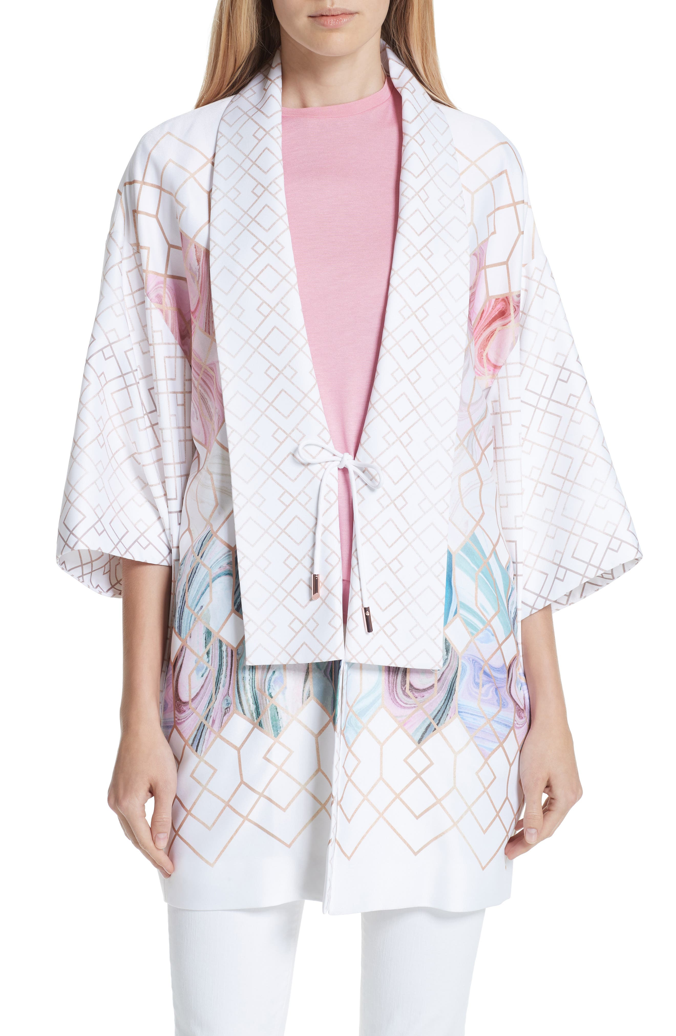 Koralle Sea of Clouds Kimono,                         Main,                         color,