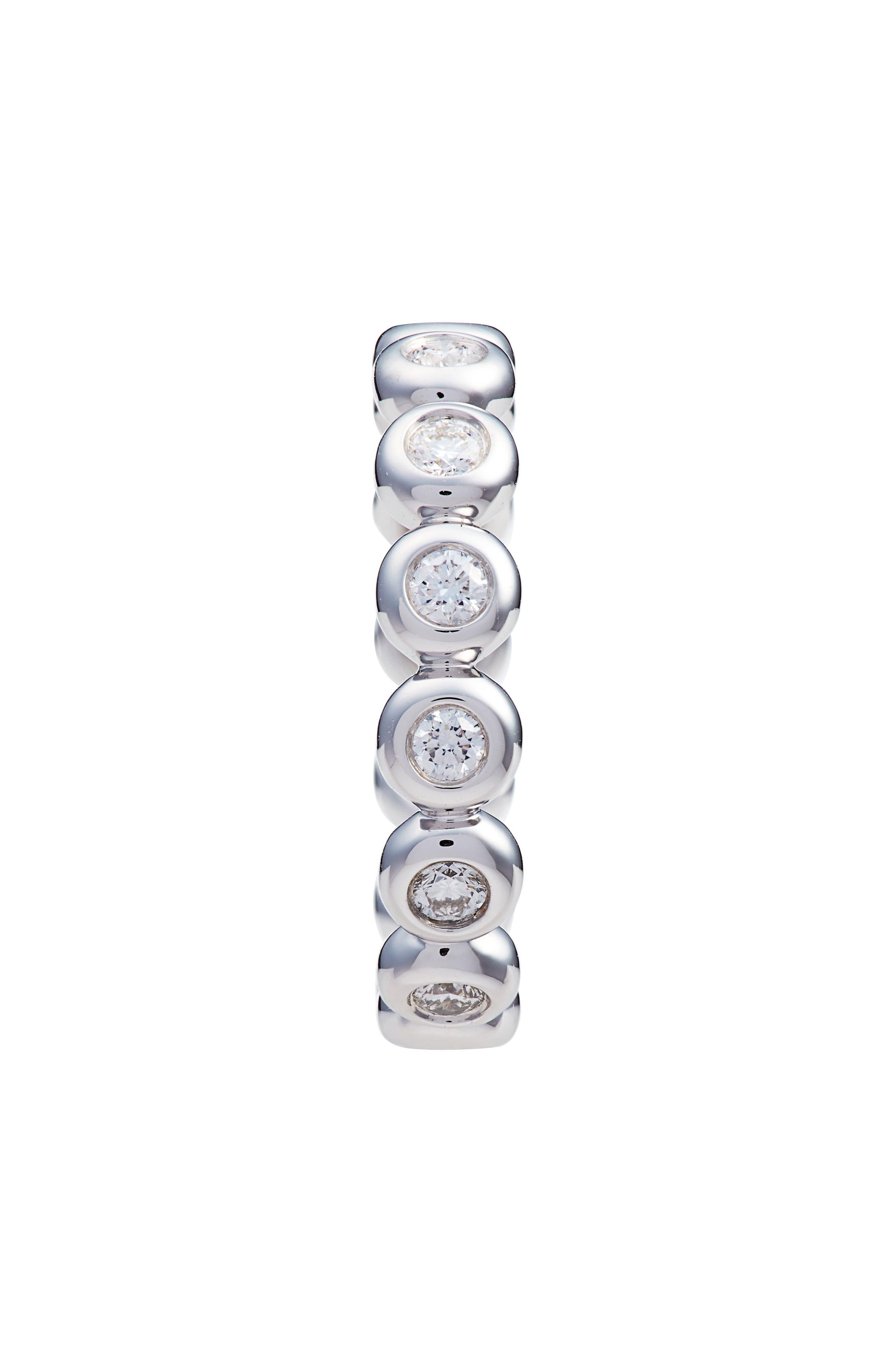 Monaco Bezel Diamond Stacking Ring,                             Alternate thumbnail 2, color,                             WHITE GOLD/ DIA
