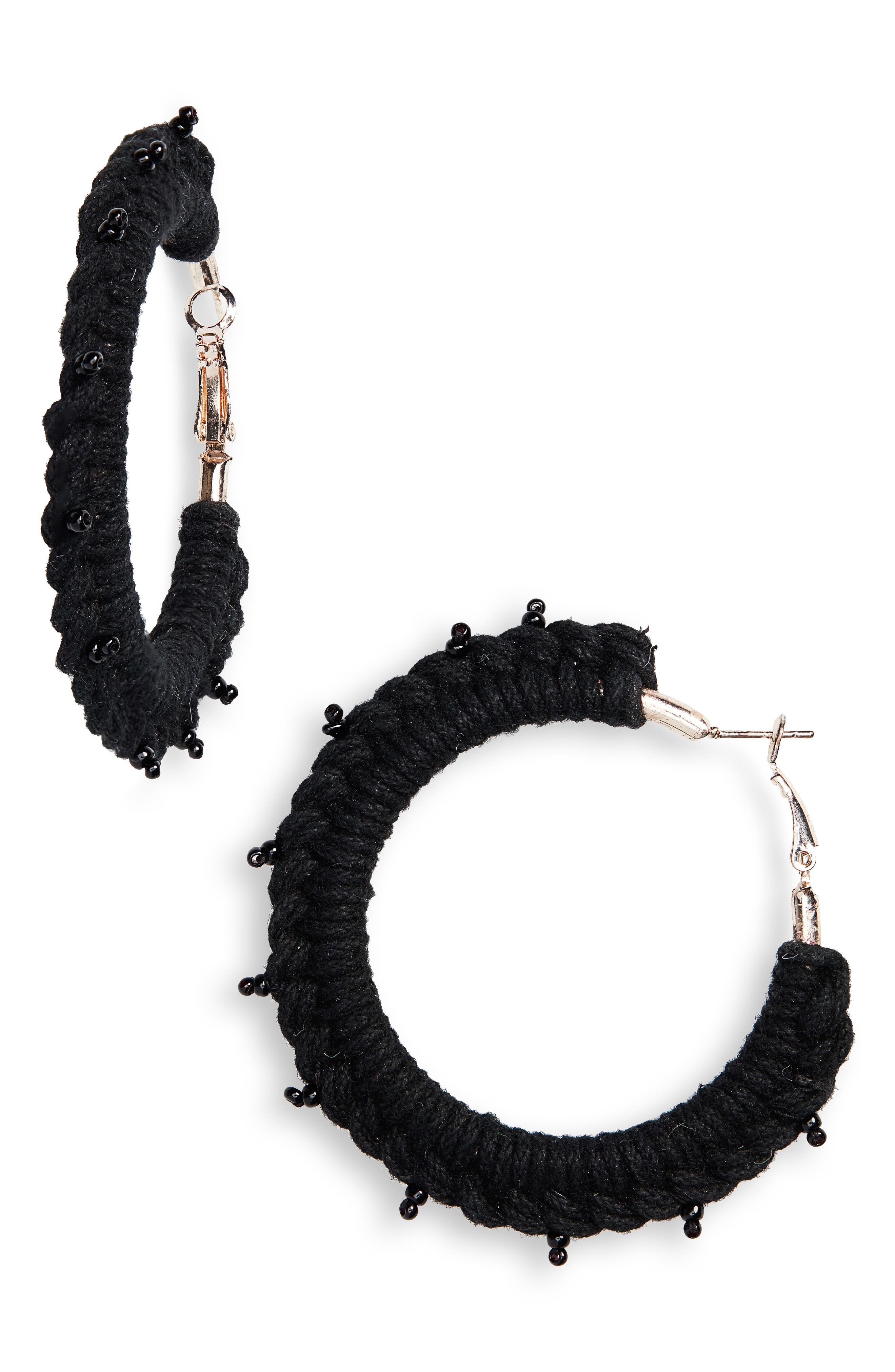 NEW FRIENDS COLONY Palma Hoop Earrings in Black